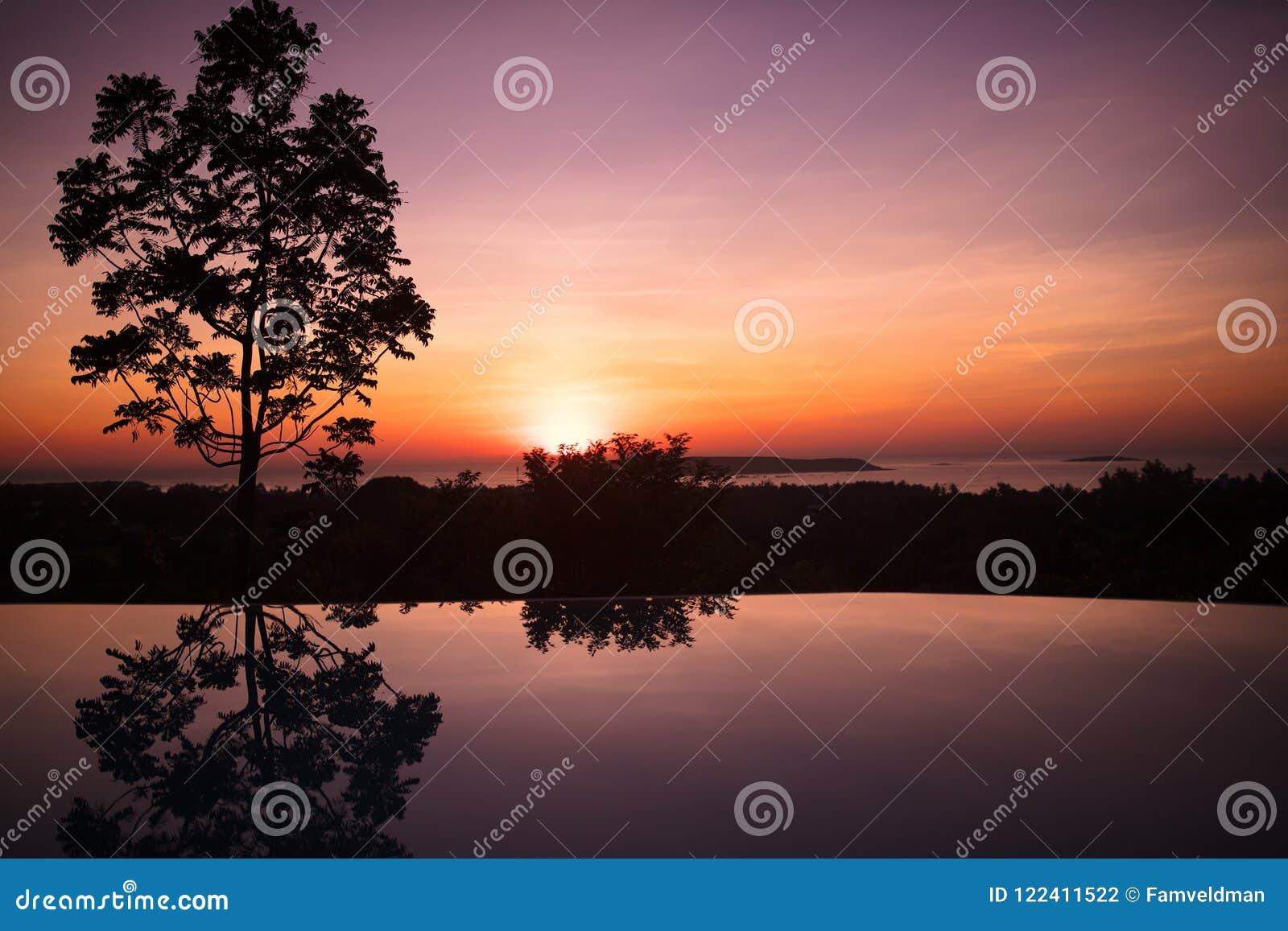 Пейзажный бассейн тропического курорта на заходе солнца