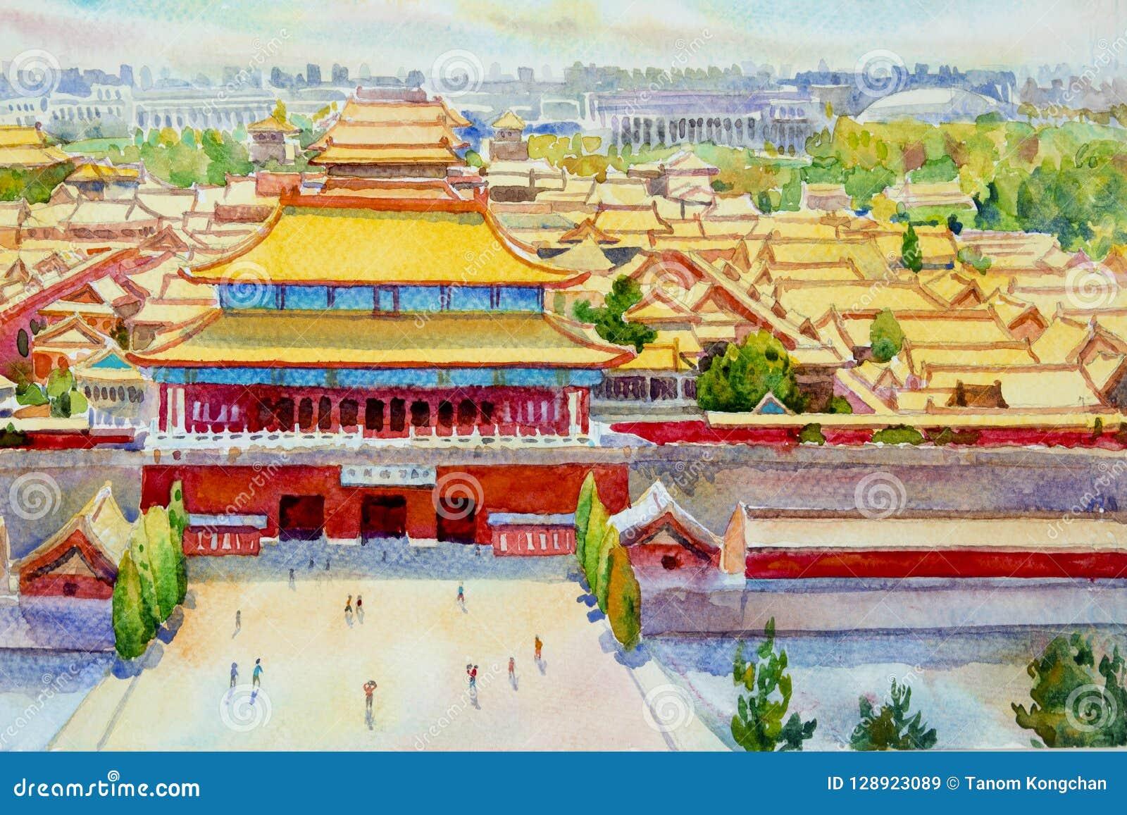 Пейзаж запретного города Пекина в Китае