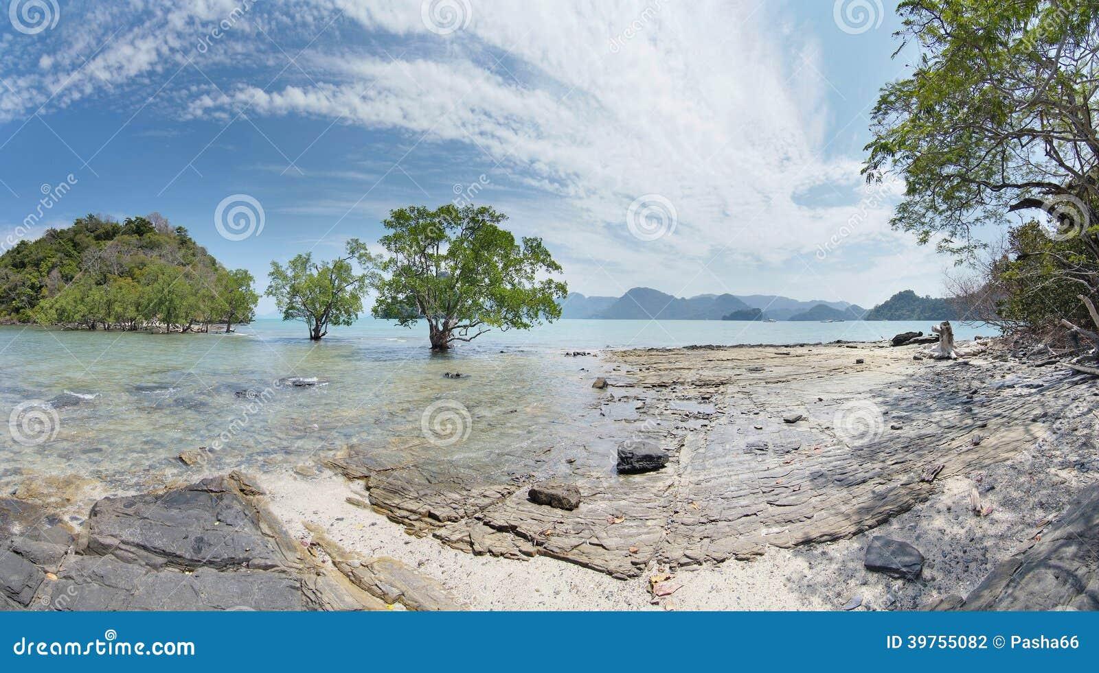 Пейзаж с деревьями и островами