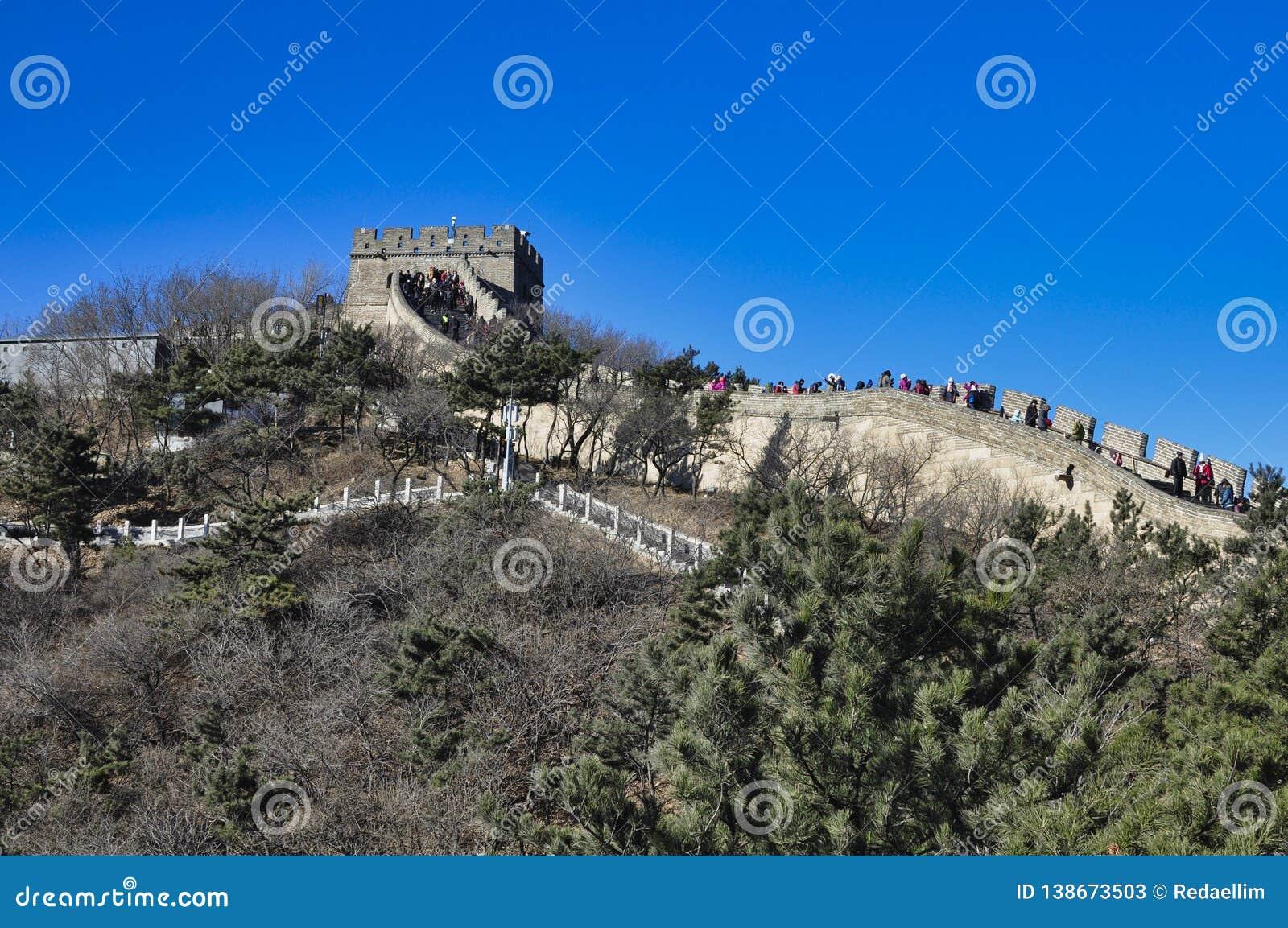 Пекин, Китай 18-ое ноября 2017: Великая Китайская Стена Китая, Badaling