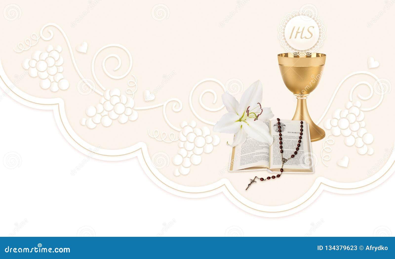Первое святое причастие, иллюстрация с чашкой, хозяин, библия, лилия и розарий