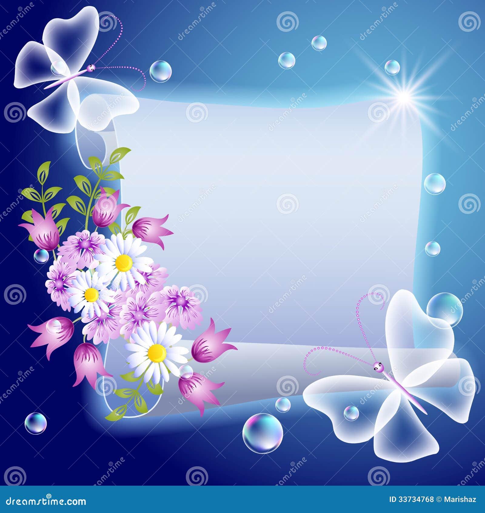 Пергамент с цветками и butterfliers