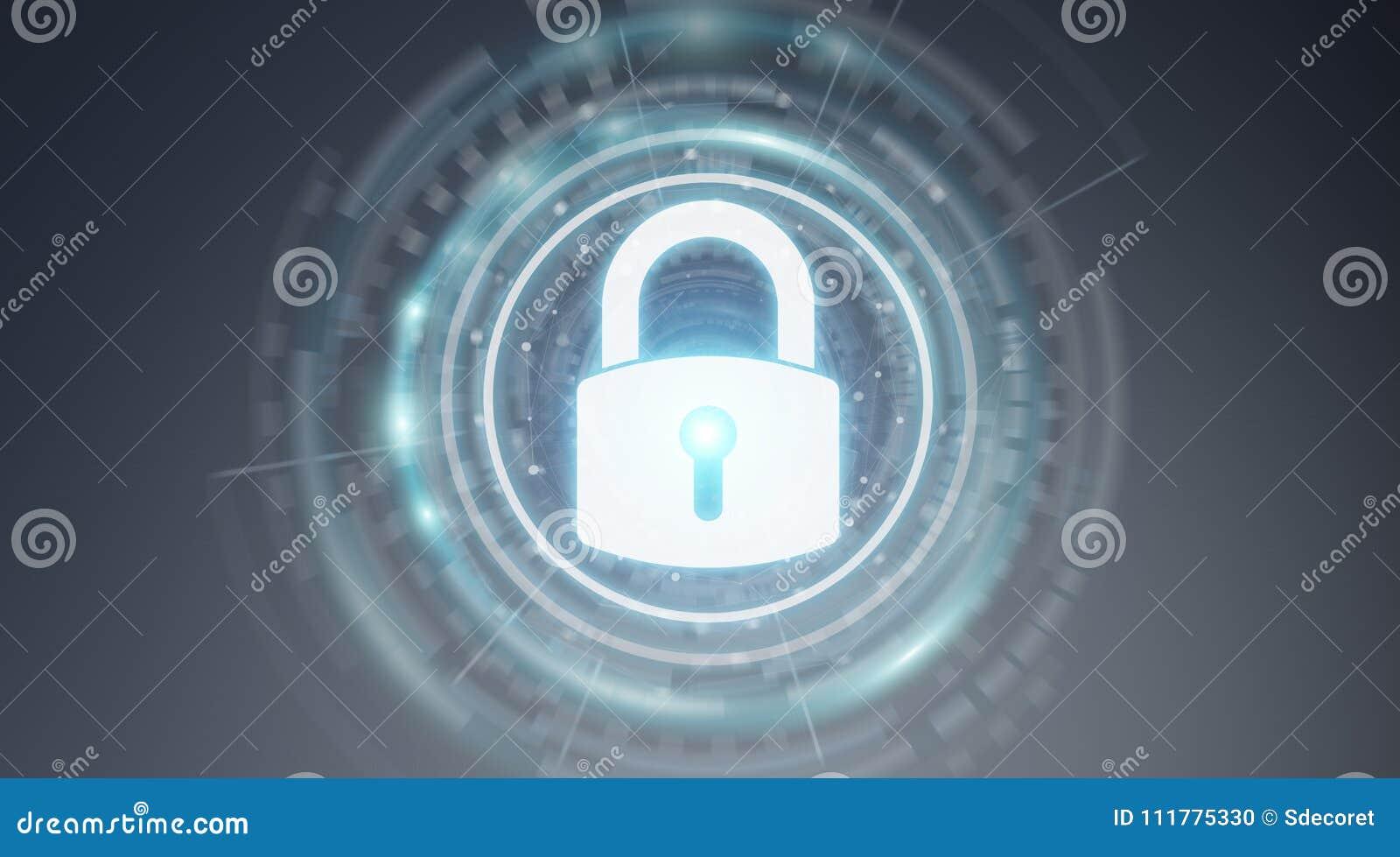 Перевод данным по 3D интерфейса безопасностью Padlock защищая