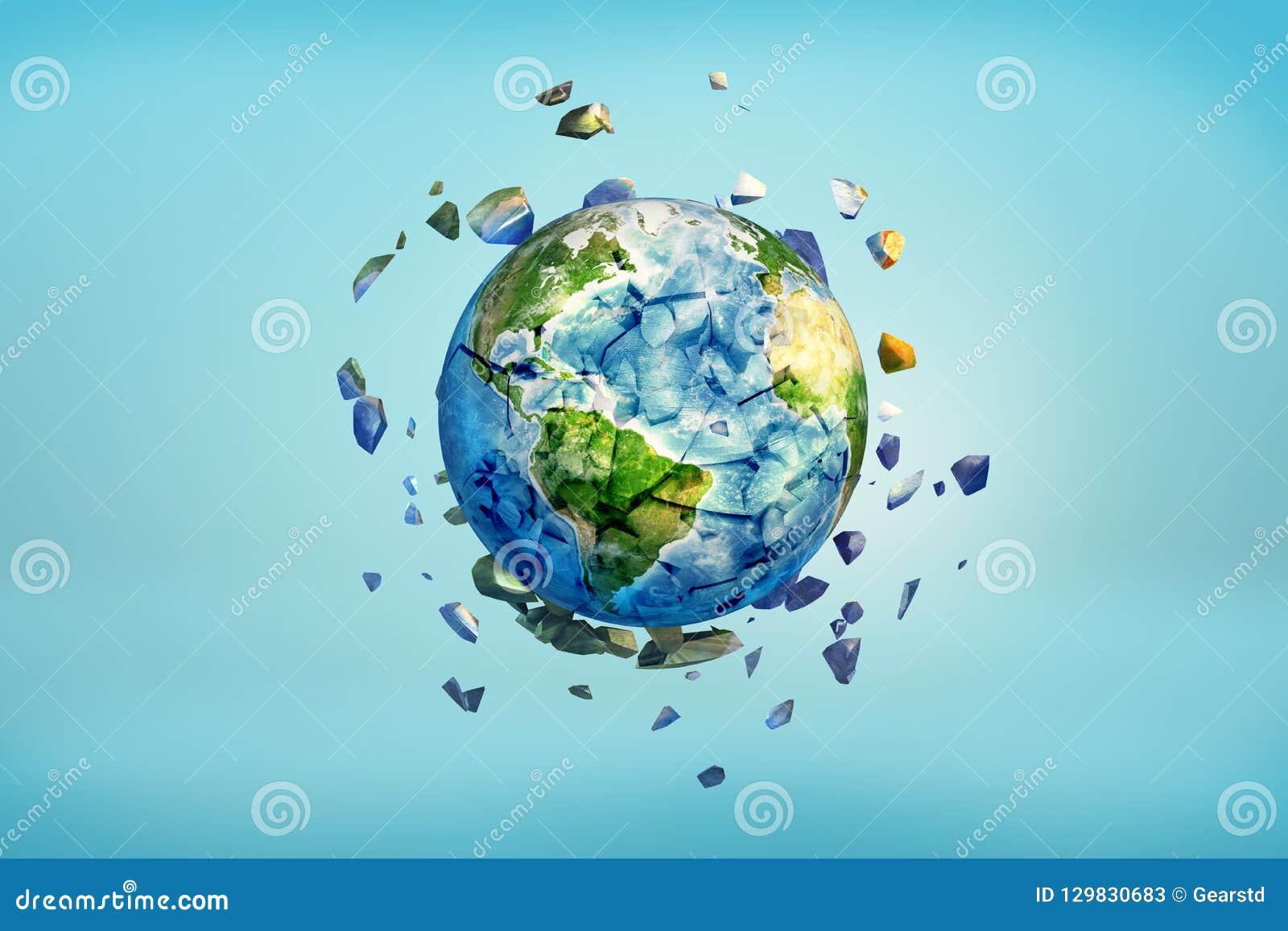 перевод 3d глобуса земли получая задавленный в небольшие части с треснутым летанием частей прочь