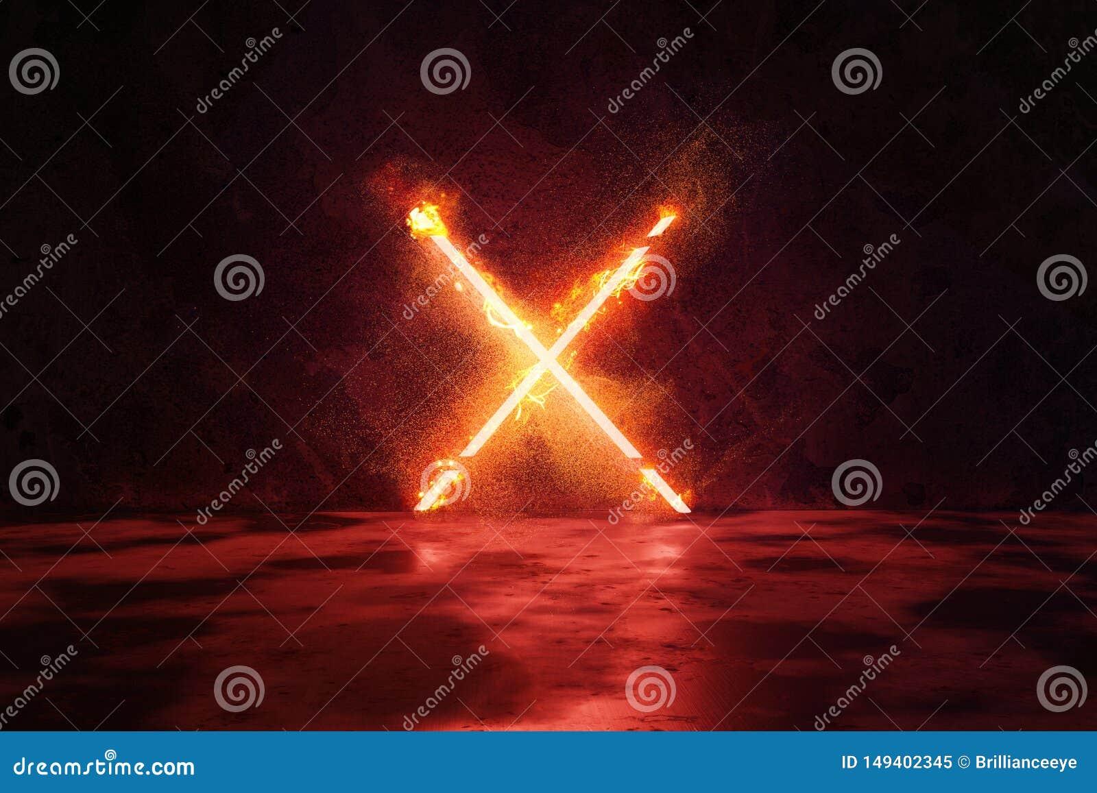 перевод 3d красного цвета облегчает форму алфавита x в огне против предпосылки стены grunge