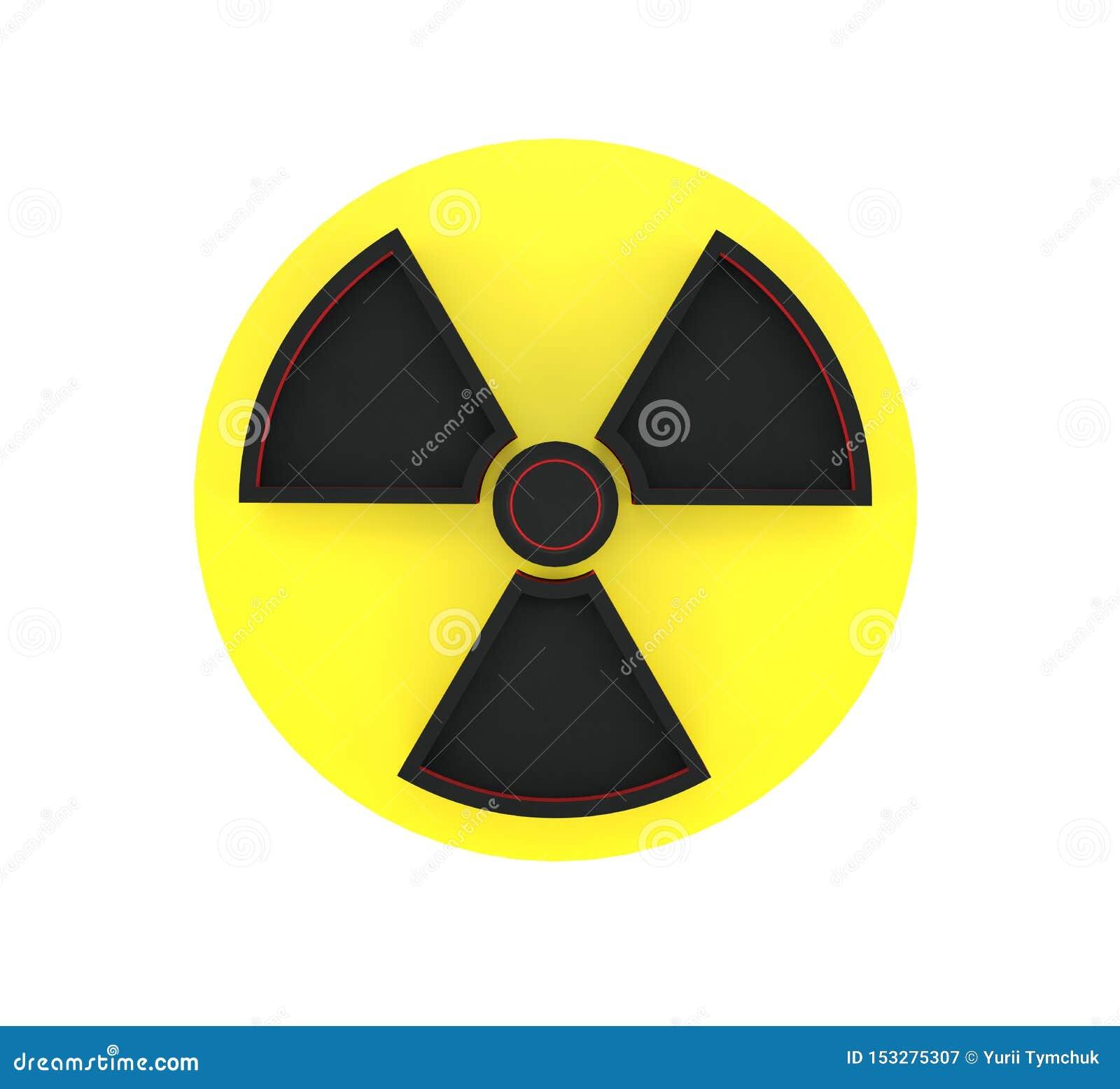 перевод 3d предупредительного знака радиоактивной зоны изолированного на белой предпосылке