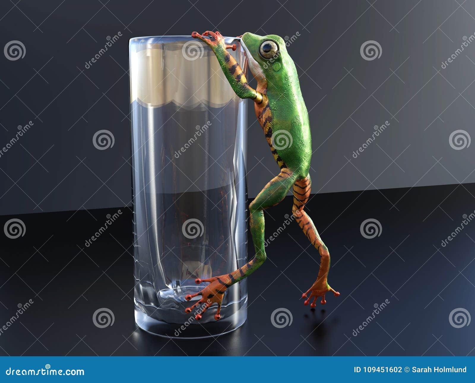 перевод 3D реалистической древесной лягушки взбираясь на стекле