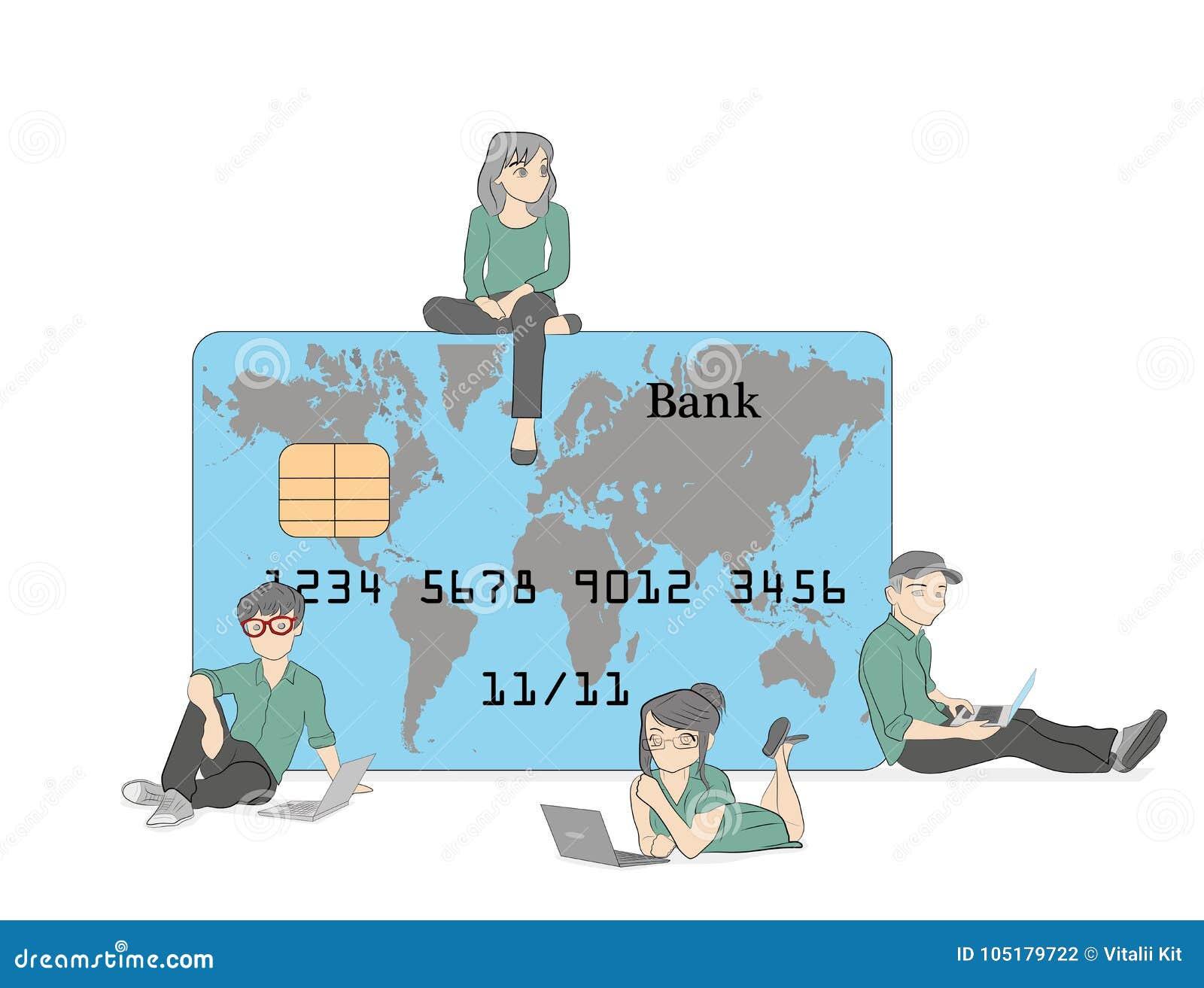 Передвижная иллюстрация концепции банка людей стоя близко кредитные карточки и используя передвижной умный телефон для онлайн-бан