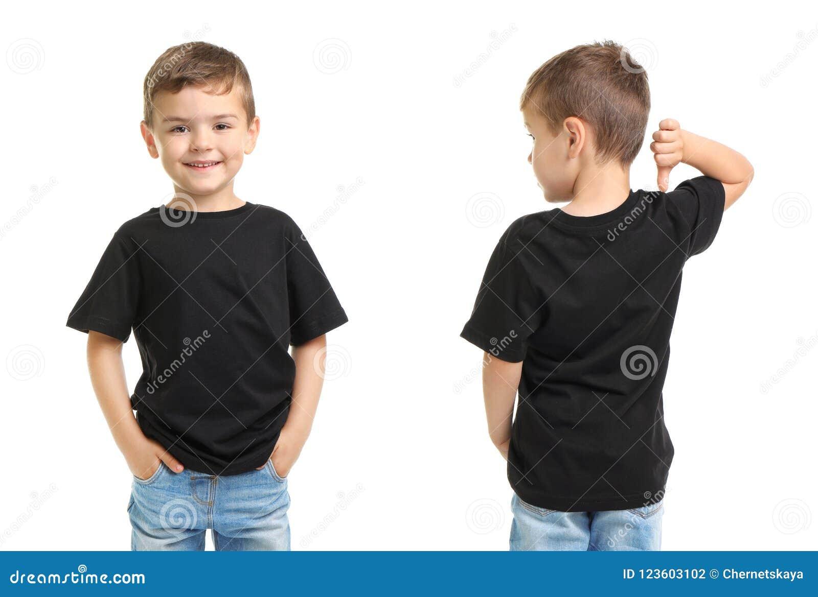 Передние и задние взгляды мальчика в черной футболке