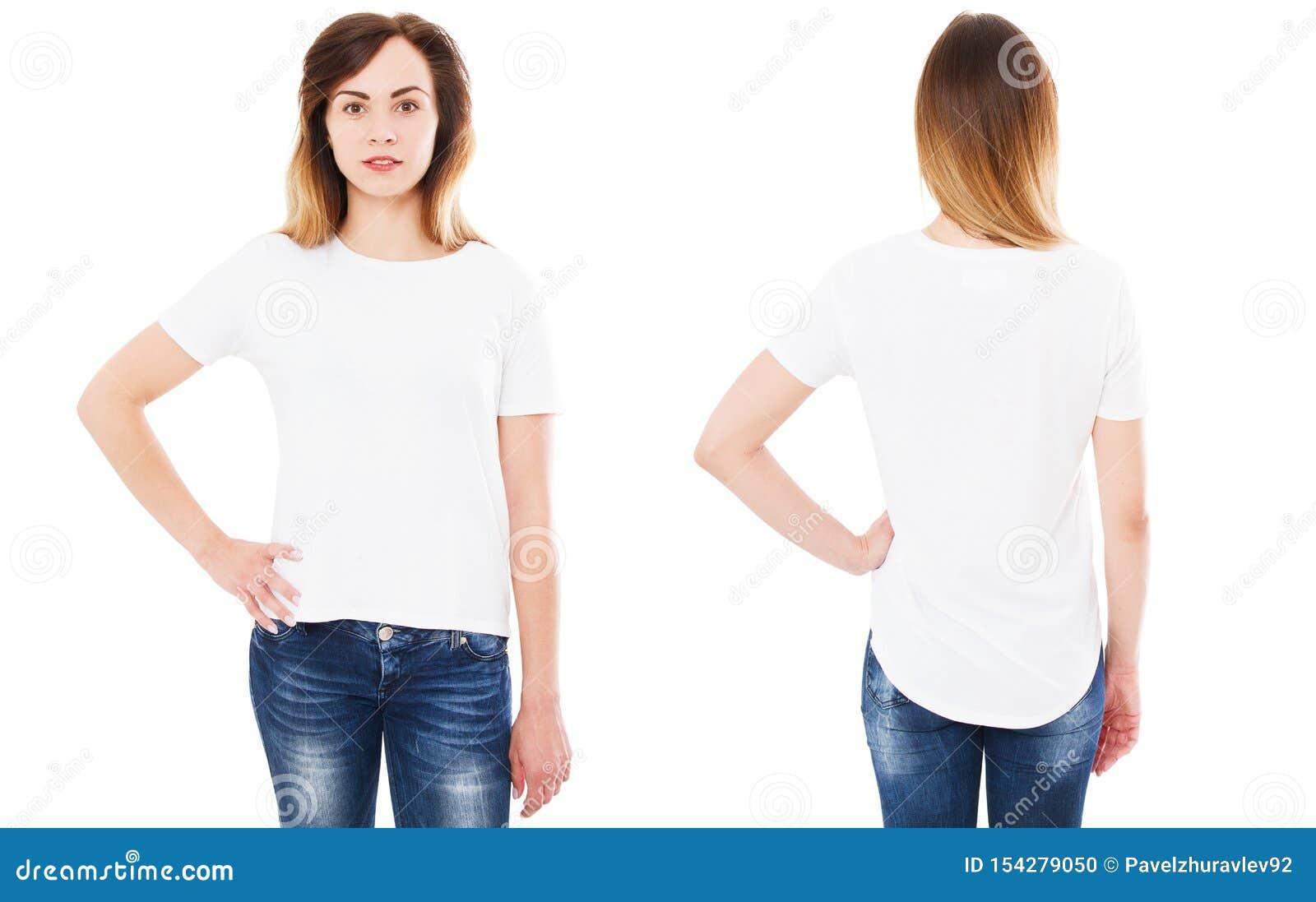 Передняя задняя футболка взглядов изолированная на белых предпосылке, коллаже футболки или наборе, рубашке девушки