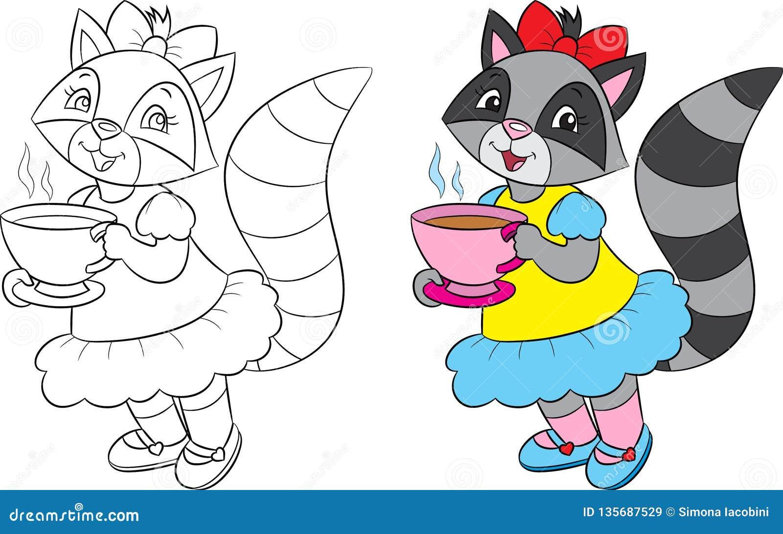 Перед и после иллюстрацией милого енота девушки, выпивая чая, в черно-белом и в цвете, для книжка-раскраски