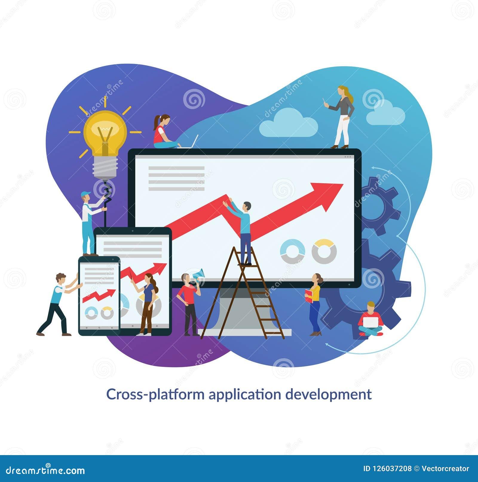 Перекрестная концепция процесса развития app платформы Плоская иллюстрация вектора дизайна