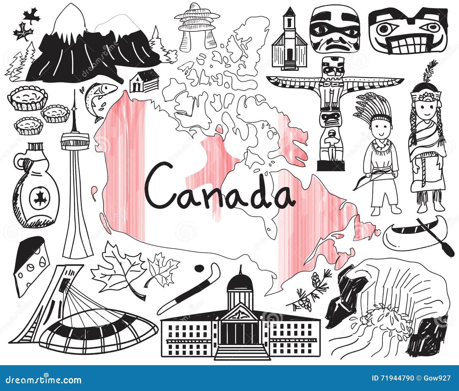 Перемещение к значку чертежа doodle Канады