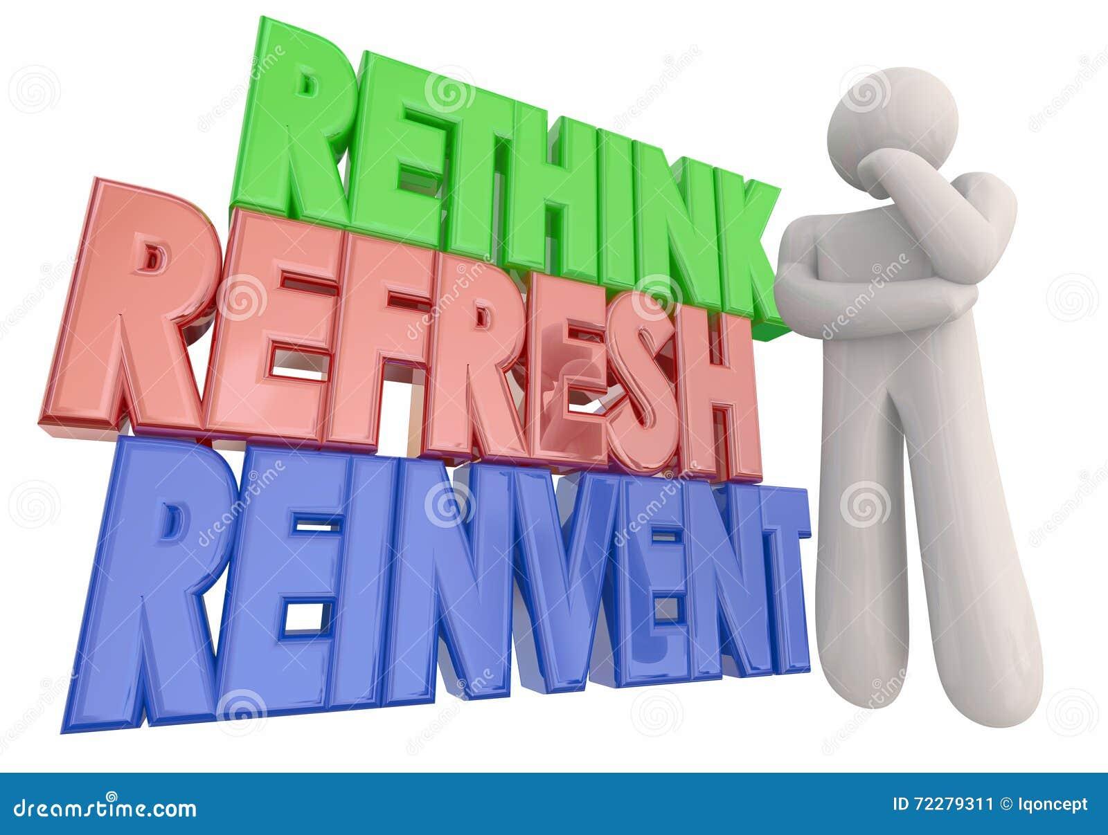 Download Переосмыслите освежите Reinvent слова мыслителя Иллюстрация штока - иллюстрации насчитывающей освежите, освежено: 72279311