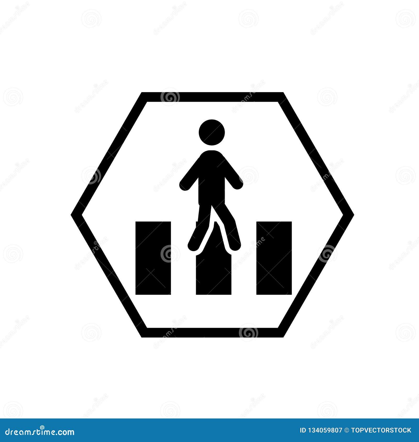 Пересекая вектор значка предосторежения дороги изолированный на белой предпосылке, пересекая знаке предосторежения дороги