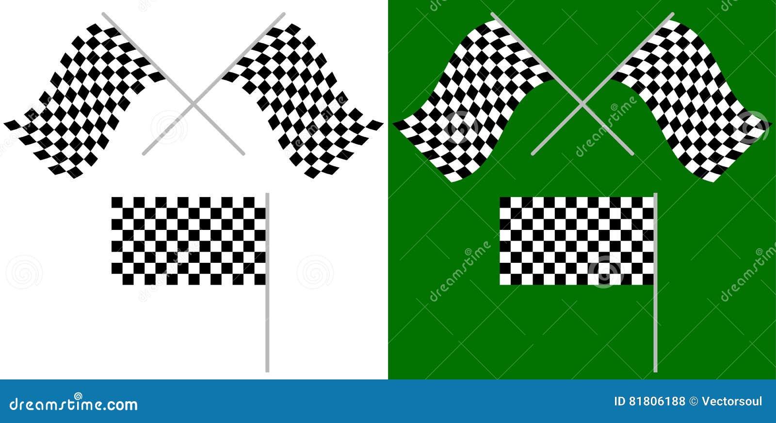Пересеченные и одиночные гонки, флаги гонки изолированные на белизне/зеленом цвете