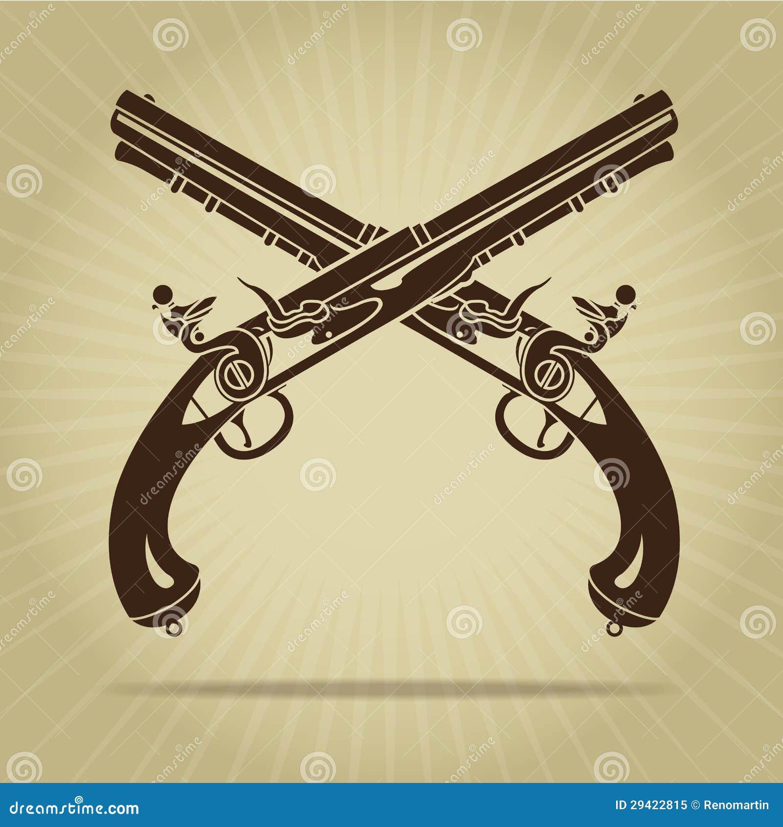 Пересеченный год сбора винограда силуэт пистолетов кремнёвого замка