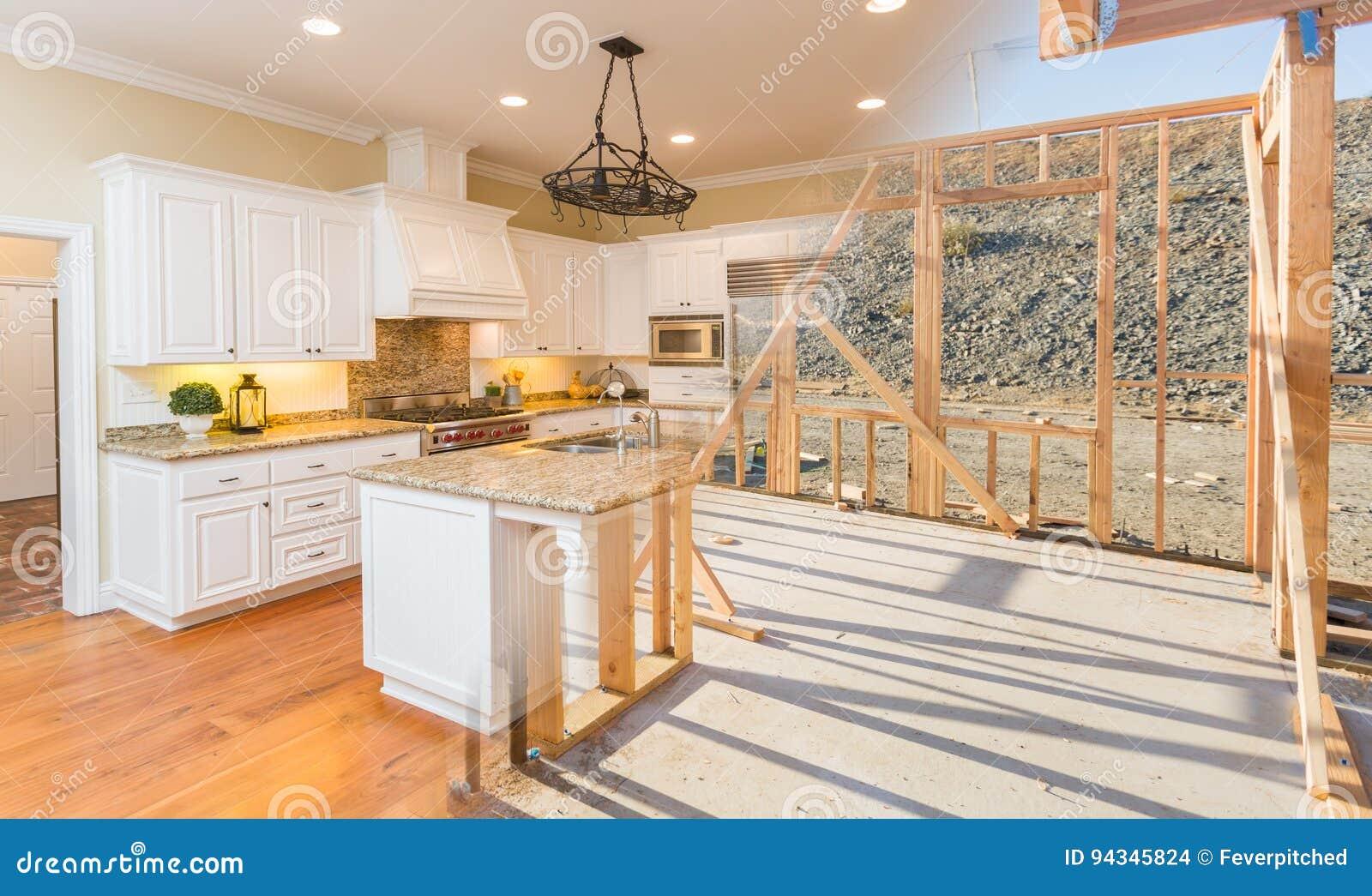 Переход красивой новой домашней кухни от обрамлять