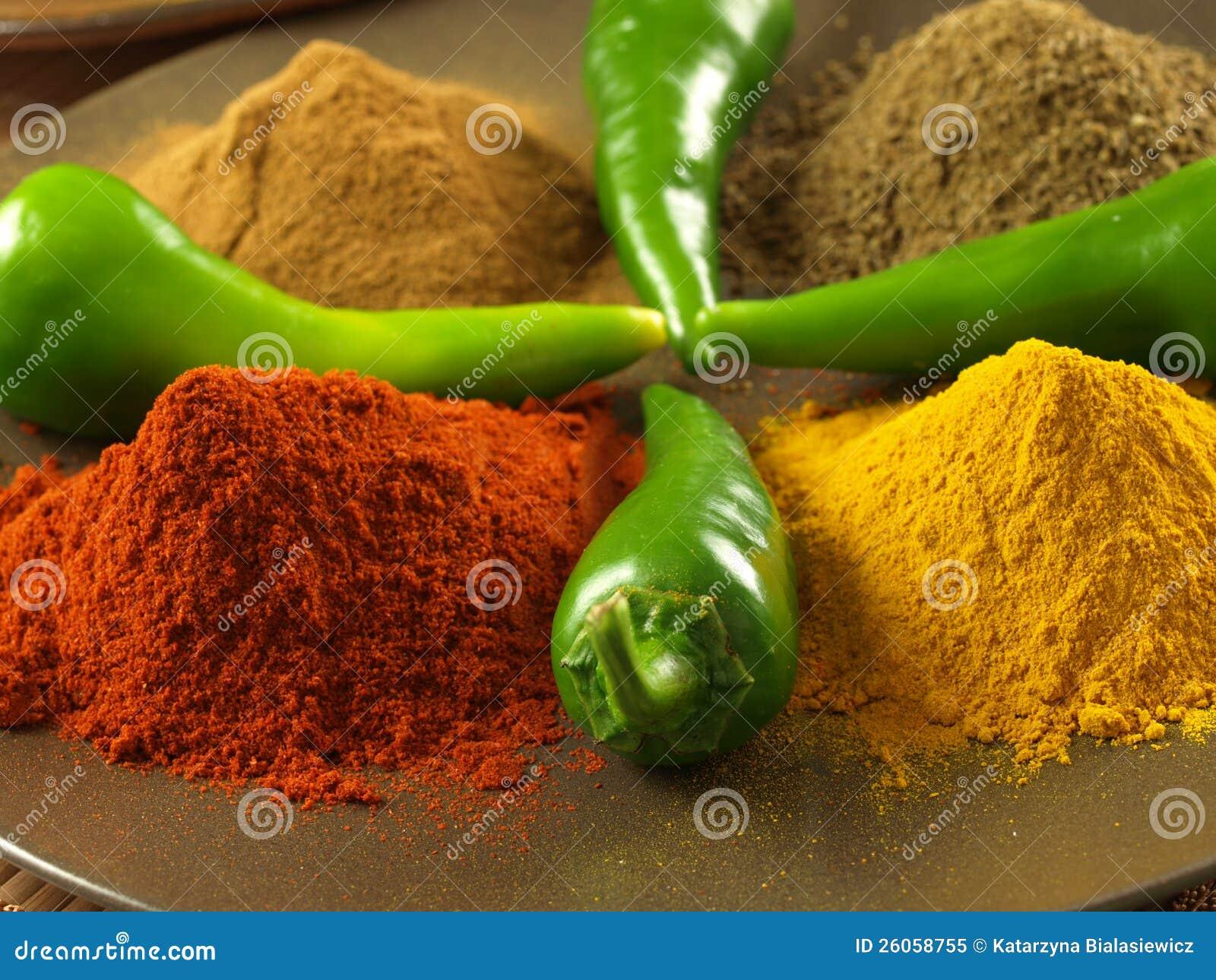 Перец, турмерин, тимон и циннамон