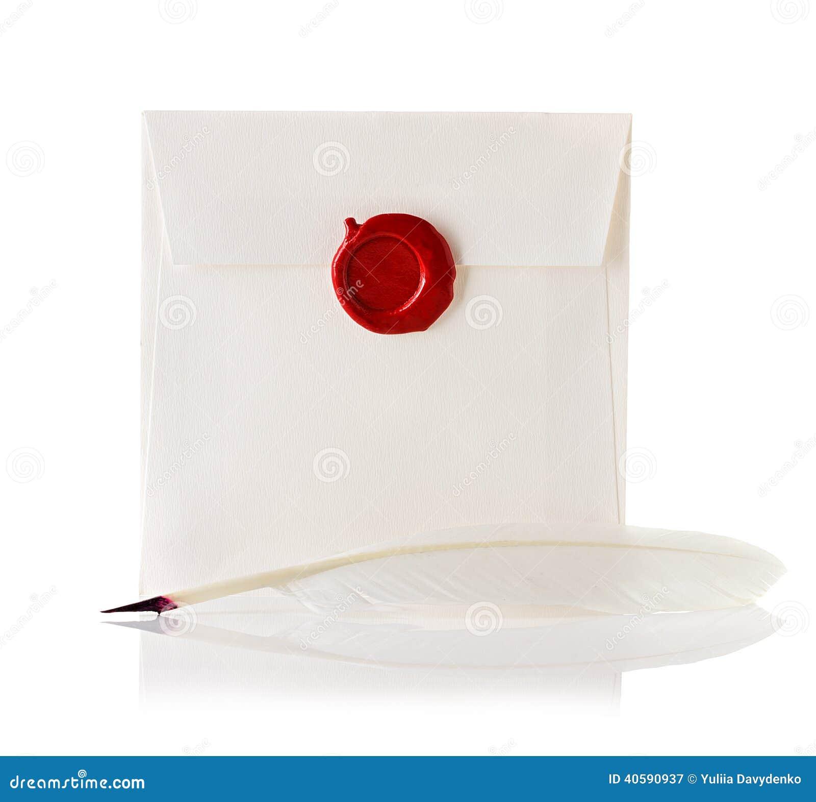 Перешлите конверт или письмо загерметизированные с штемпелем уплотнения воска и ручкой quill