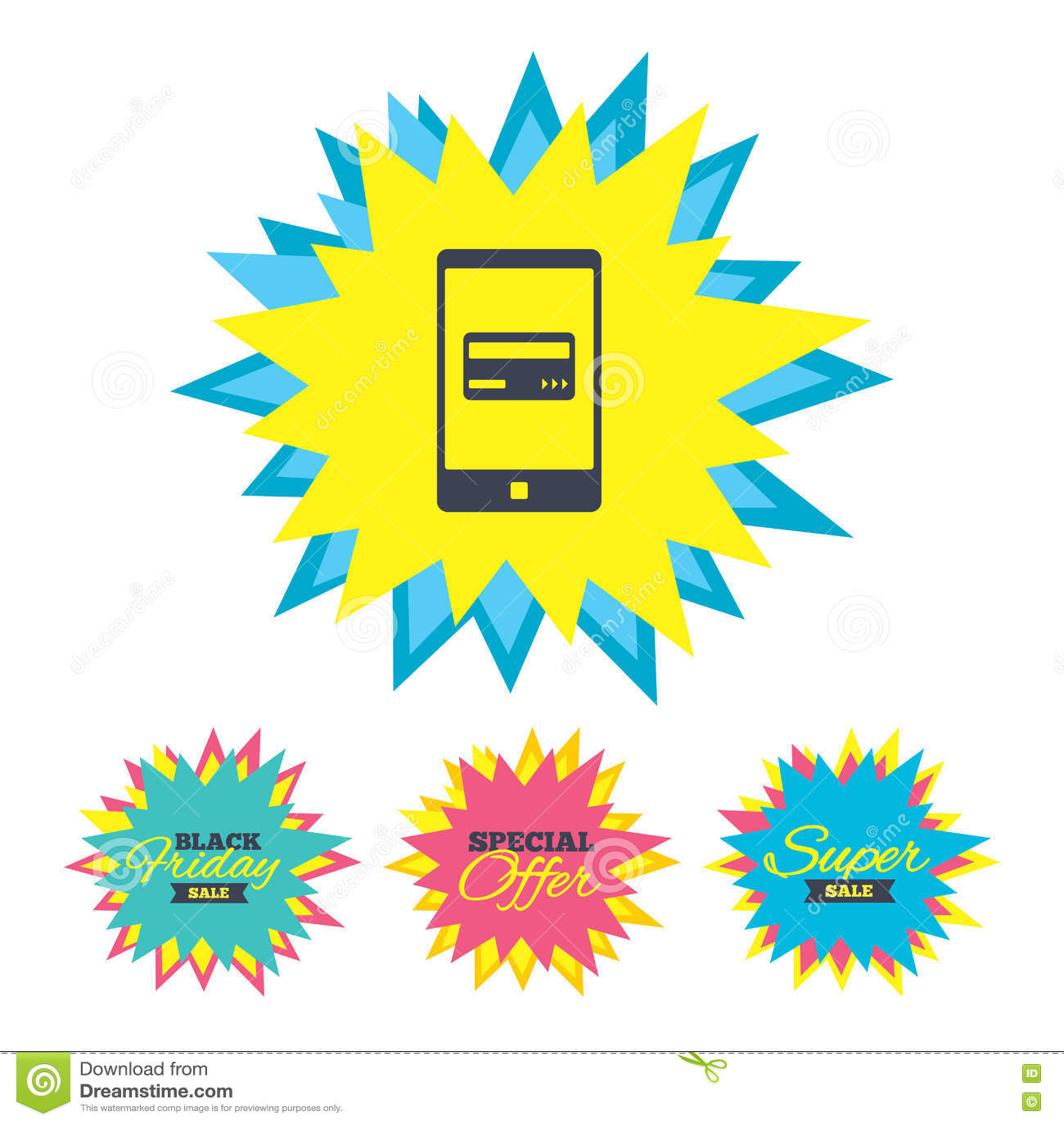 Передвижной значок оплат Smartphone с карточкой