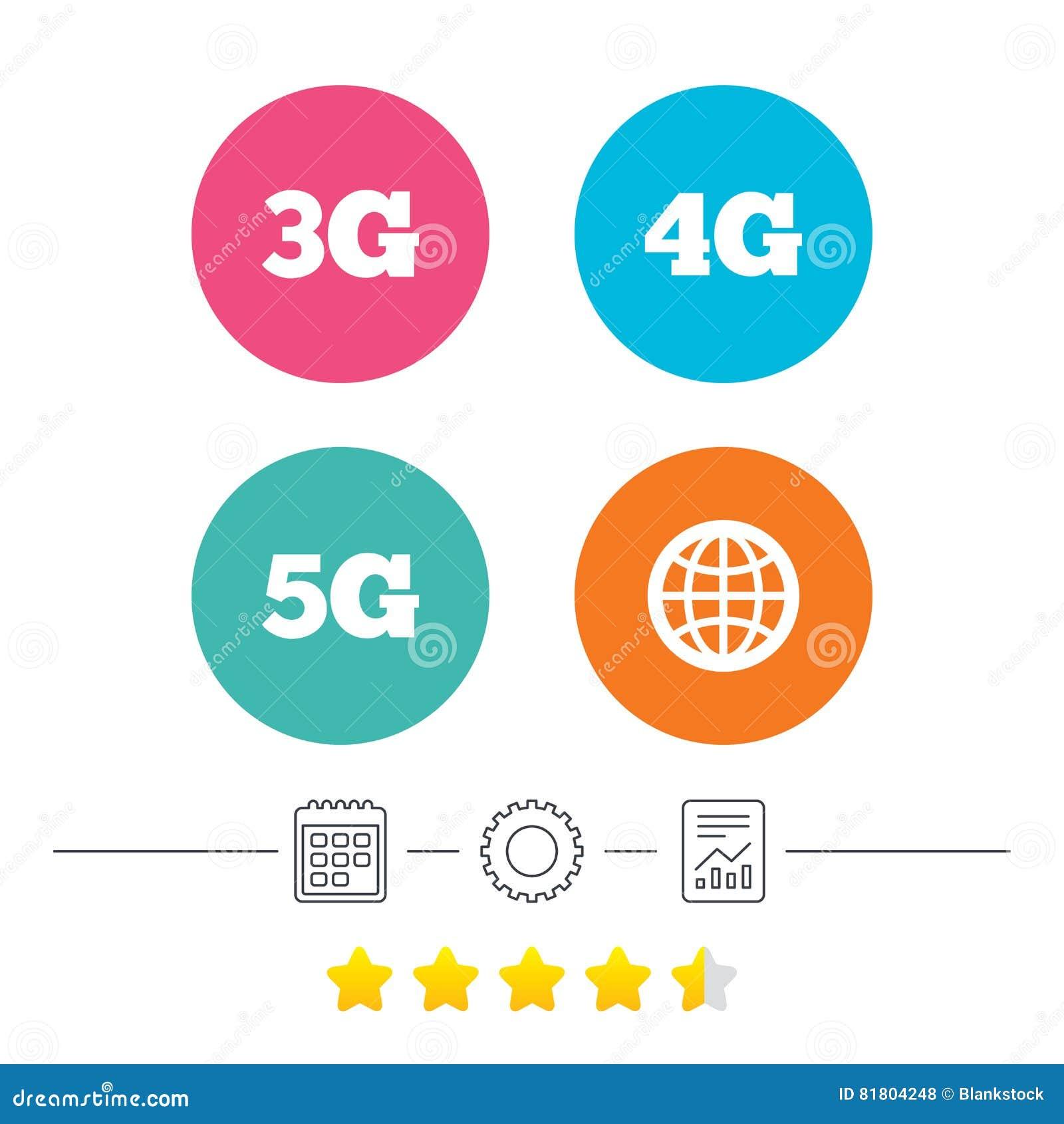 Передвижные значки радиосвязей 3G, 4G и 5G