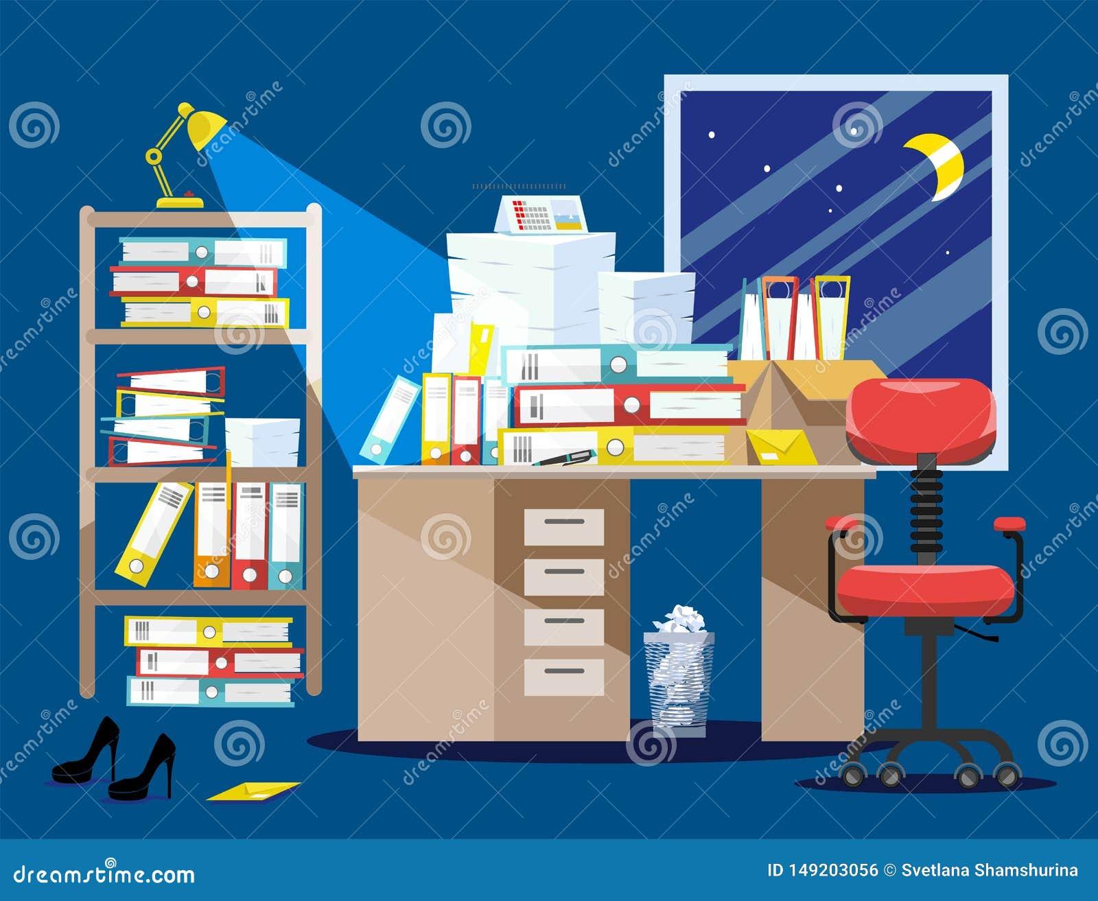 Период Nitht бухгалтеров и представления отчетах о финансиста Куча печатных документов и папок файла в картонных коробках дальше