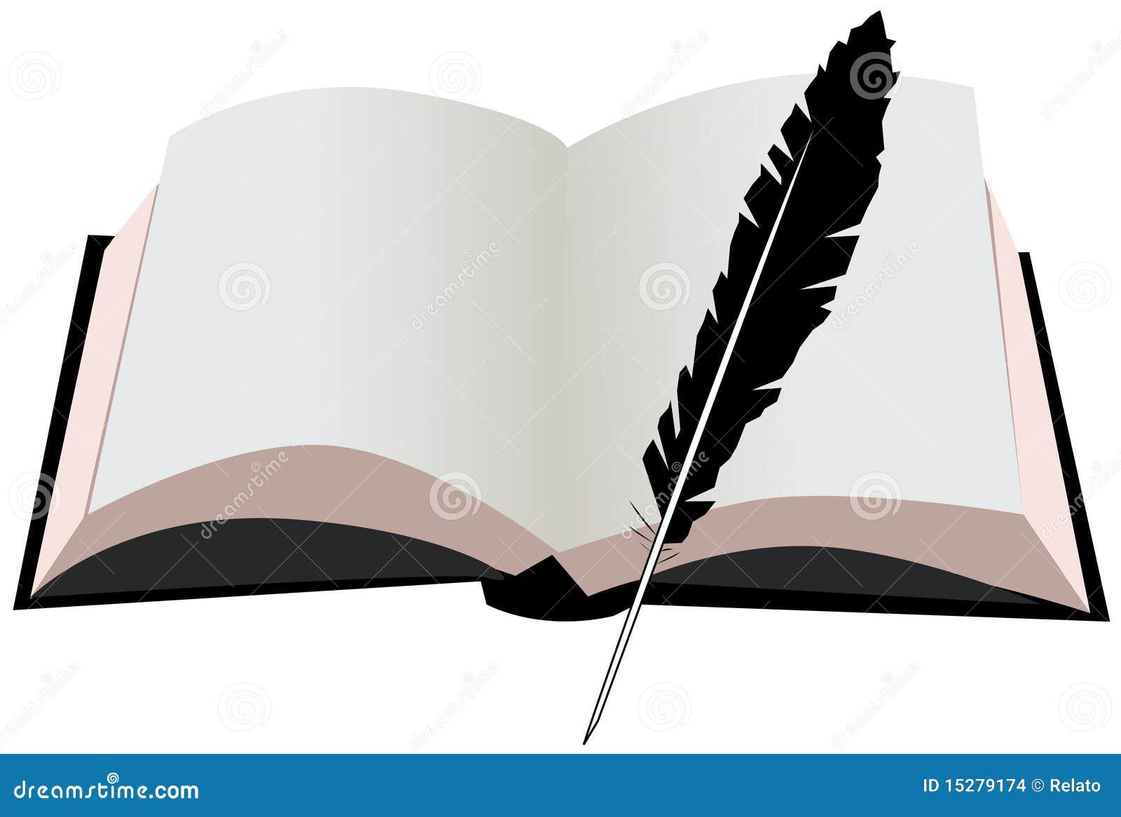 Скачать рисунок книги и пера