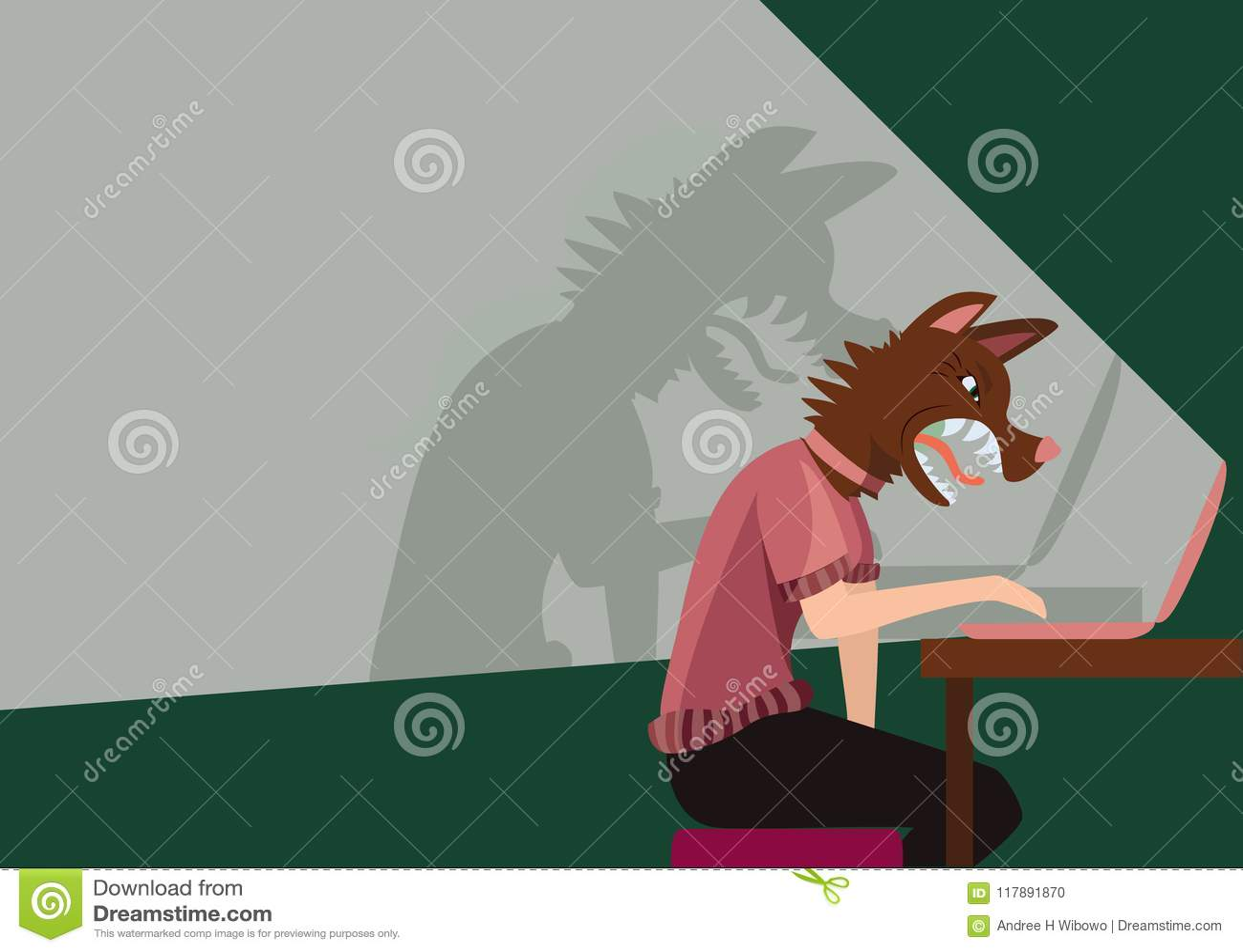 Персона используя компьютер с агрессивной собакой как голова