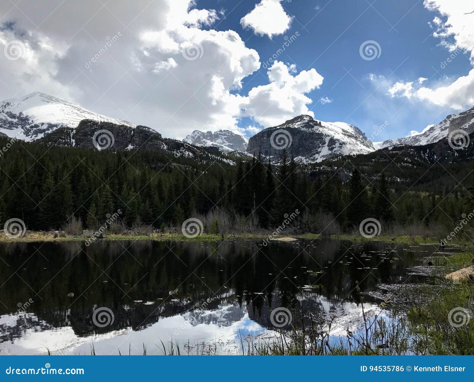 Перспектива озера гор