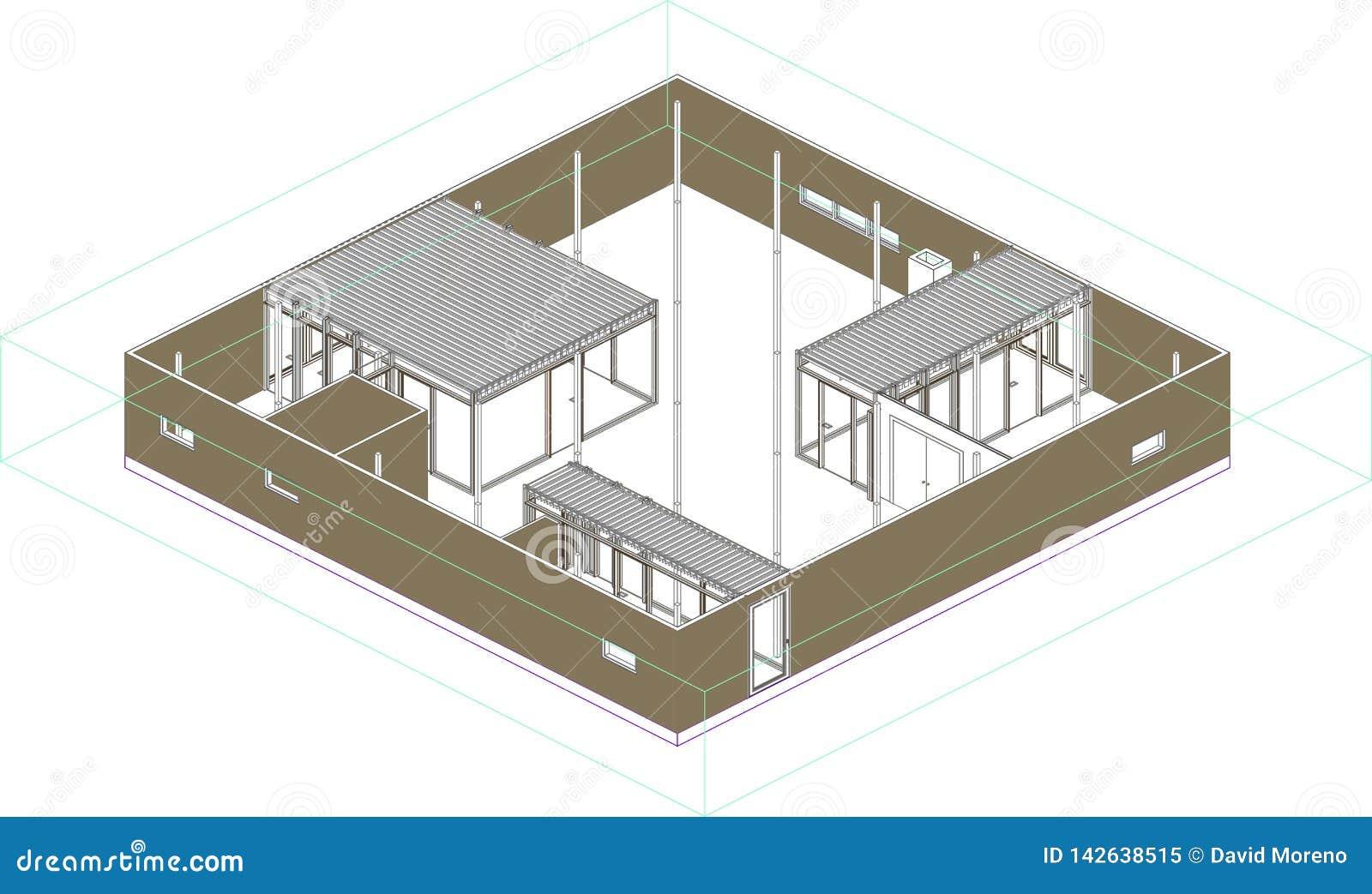 Перспектива Wireframe современного дома в Японии