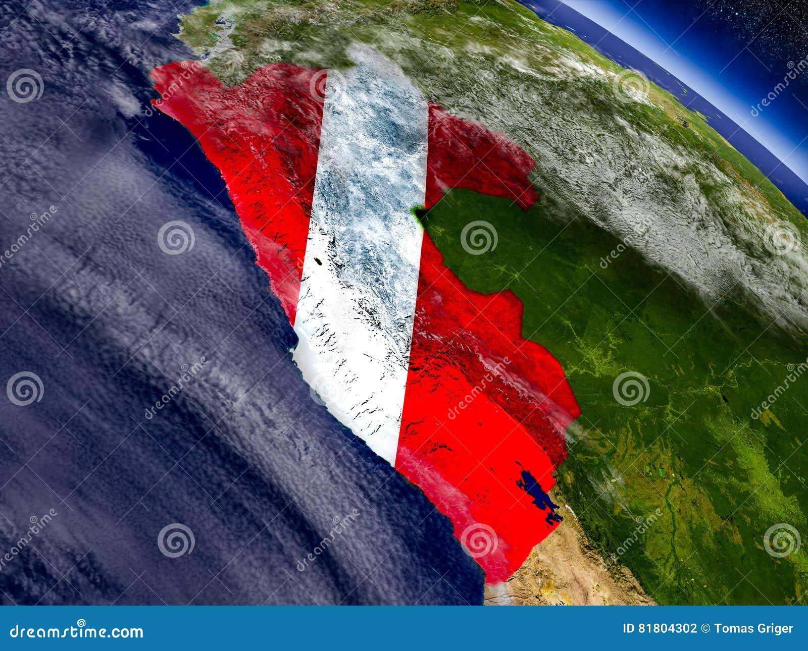 Перу с врезанным флагом на земле