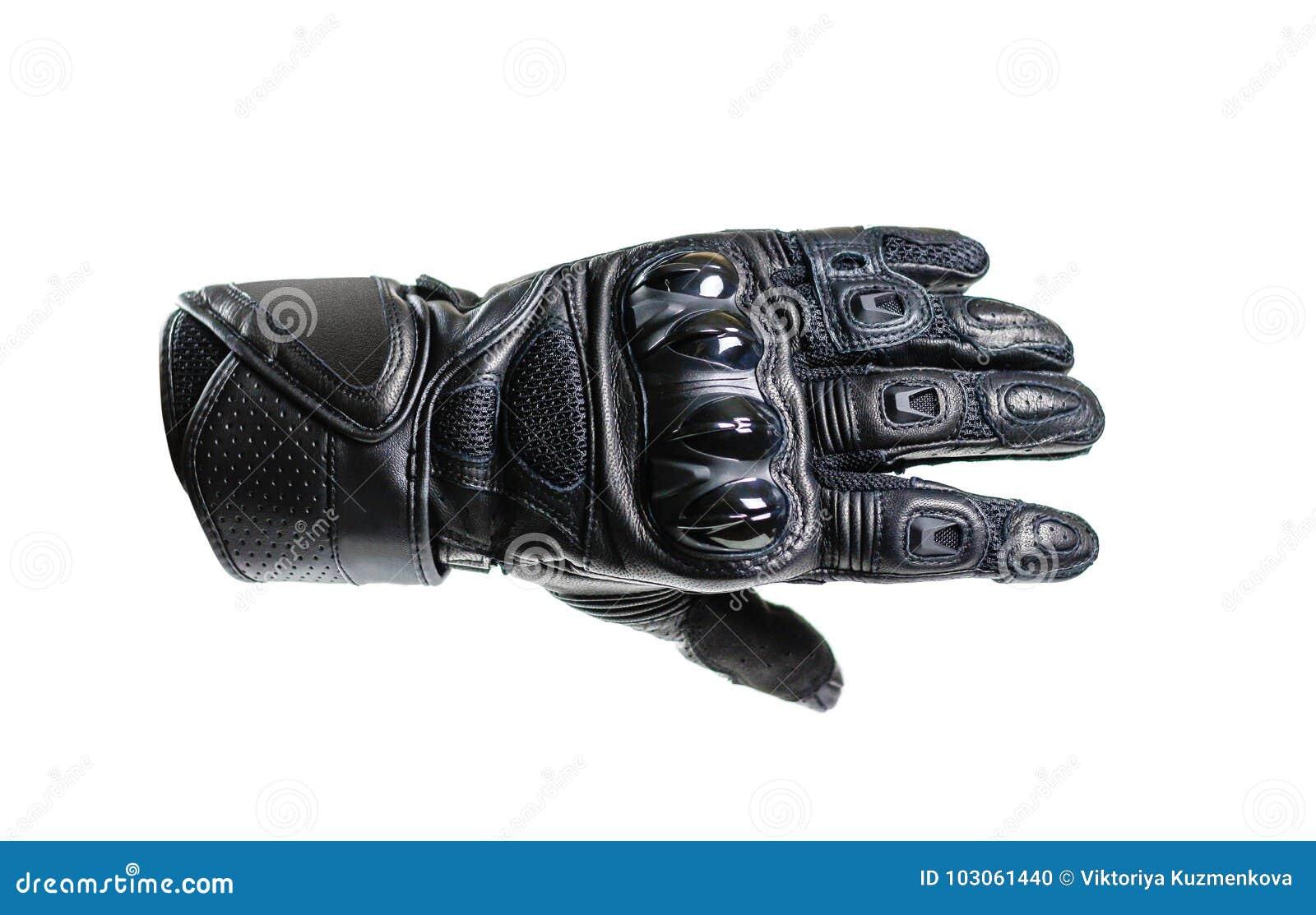 Перчатки Moto спорта черные белизна изолированная предпосылкой