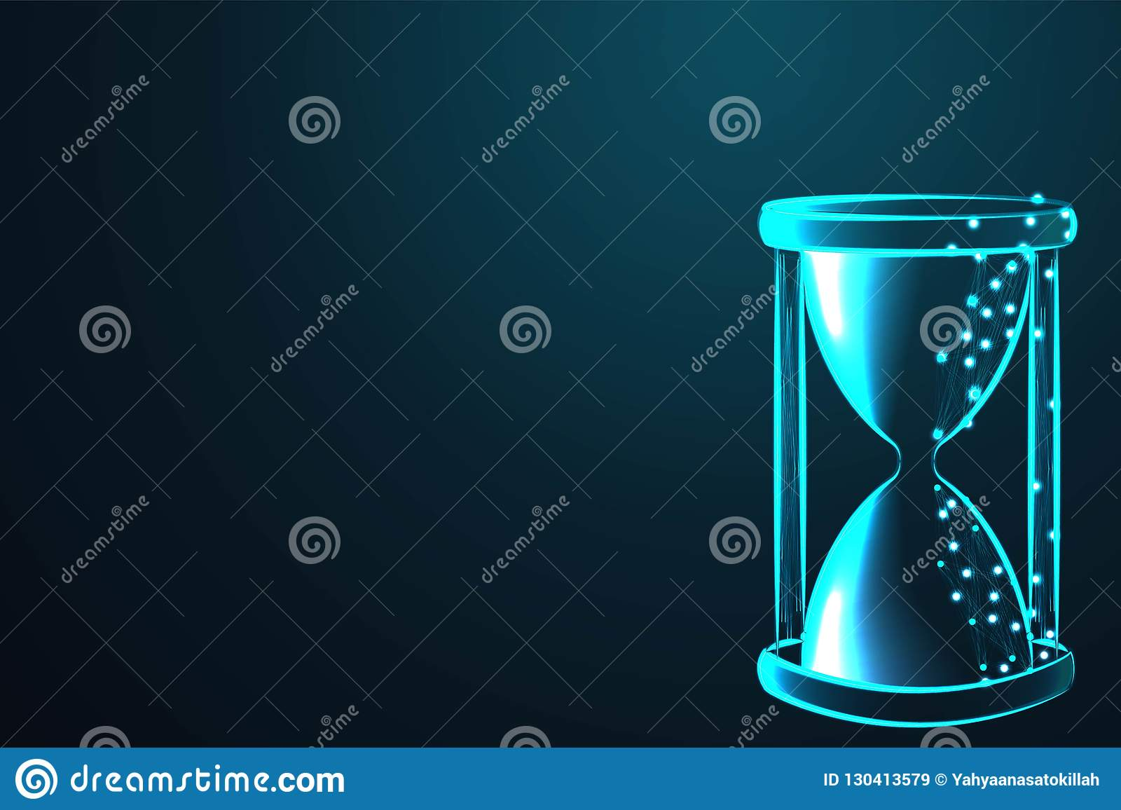 Песок бежать через шарики часов измеряя проходя время в комплексе предпусковых операций к крайнему сроку, полигональной сетке рам