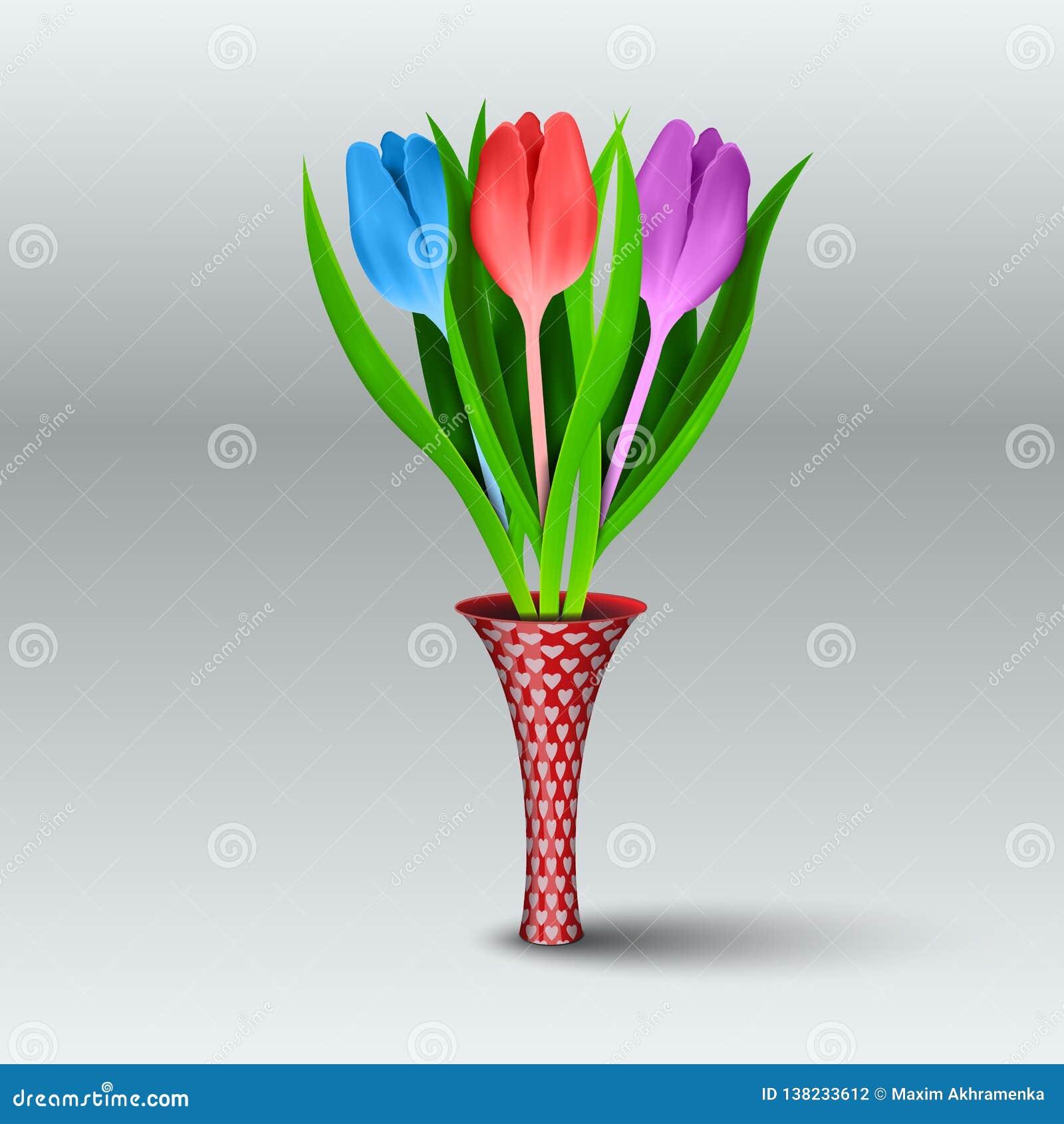Пестротканые реалистические тюльпаны в тонкой вазе на серой предпосылке также вектор иллюстрации притяжки corel