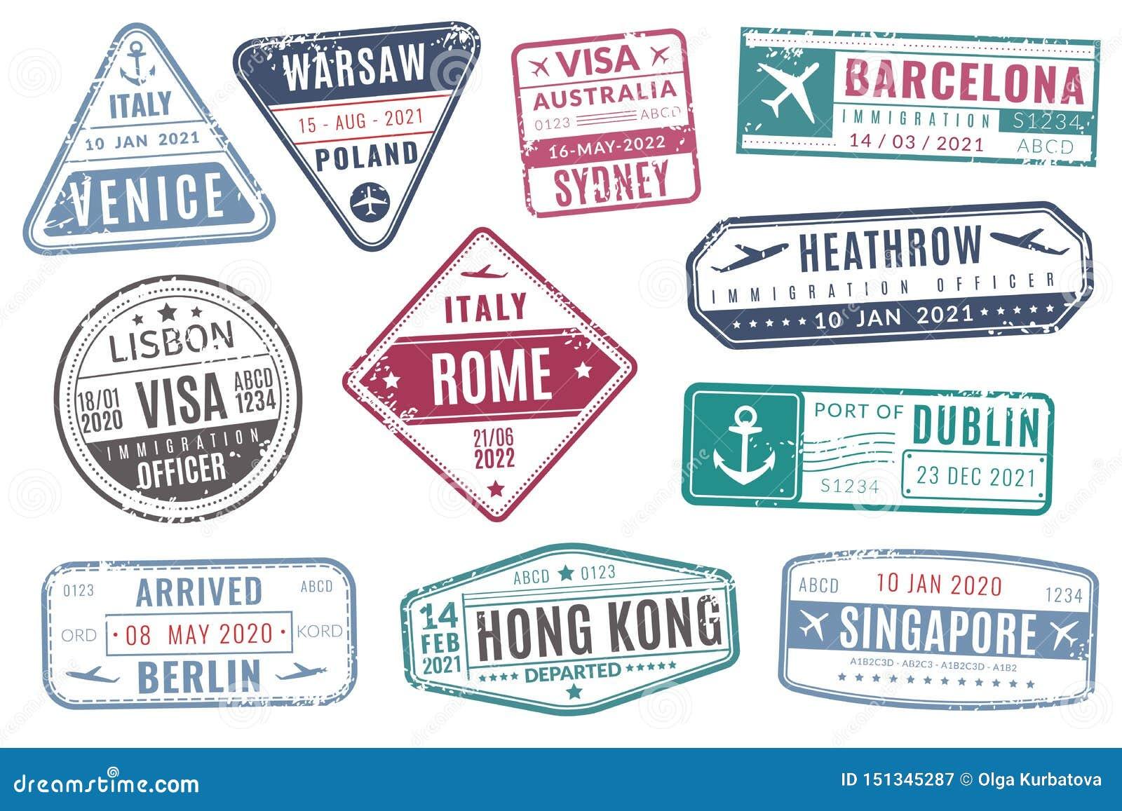 Печати аэропорта Винтажная иммиграция визы паспорта перемещения приехала печать с текстурой grunge r