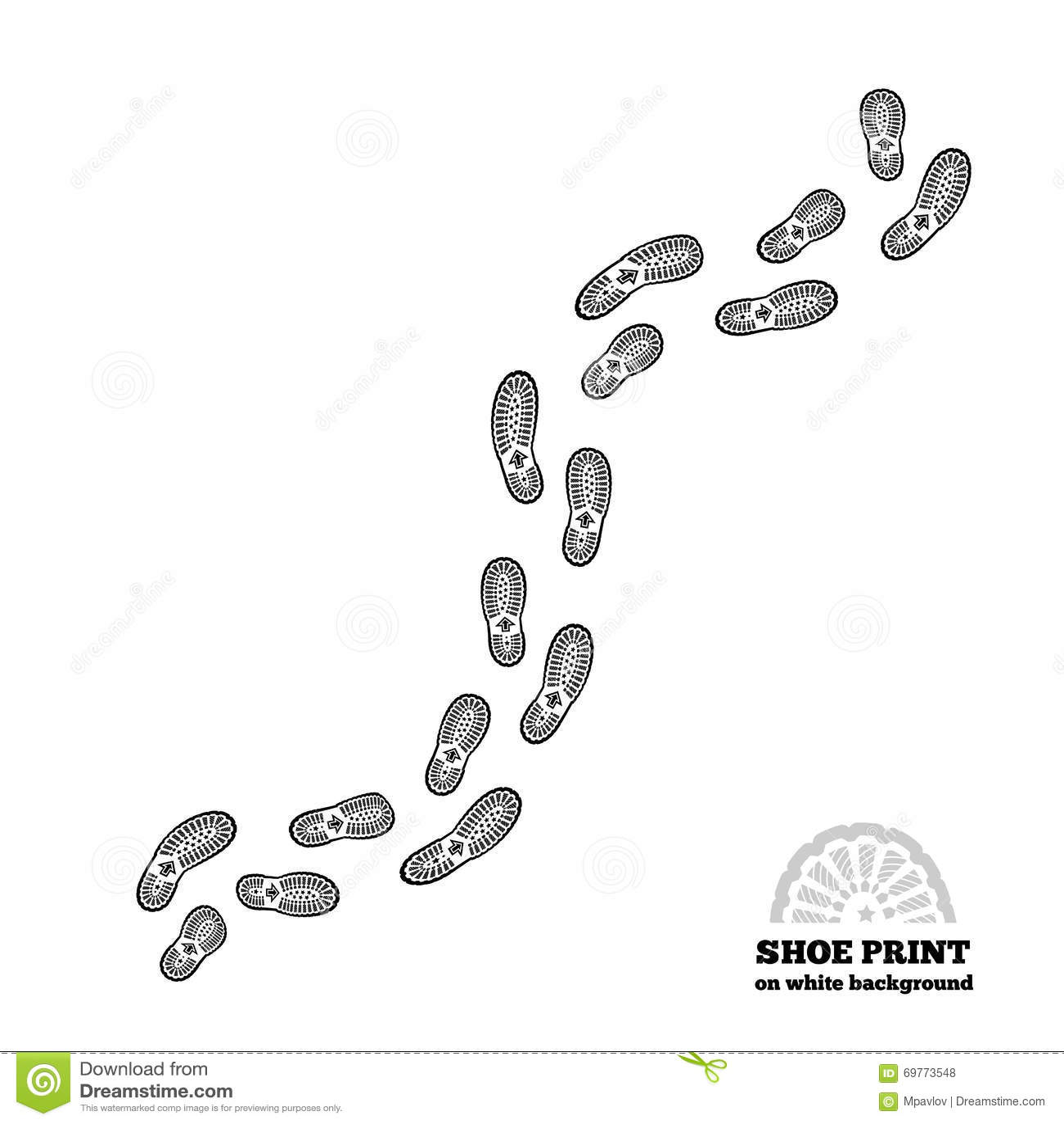 Печать ботинка на белизне