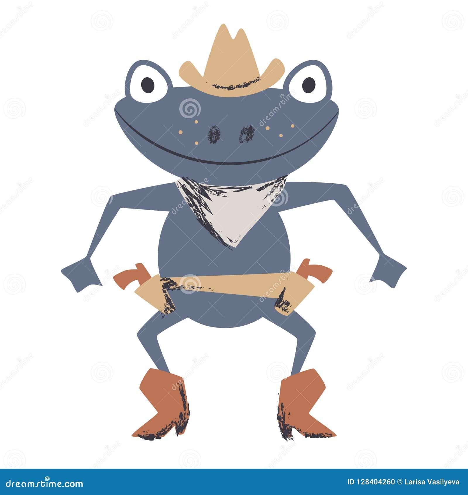 Печать западного поединка лягушки милая Животное Диких Западов с шляпой, ботинком, оружием