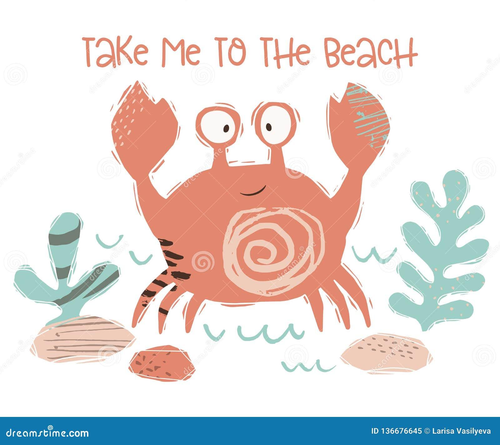 Печать младенца краба милая Сладкое морское животное укротите к пляжу - лозунгу текста