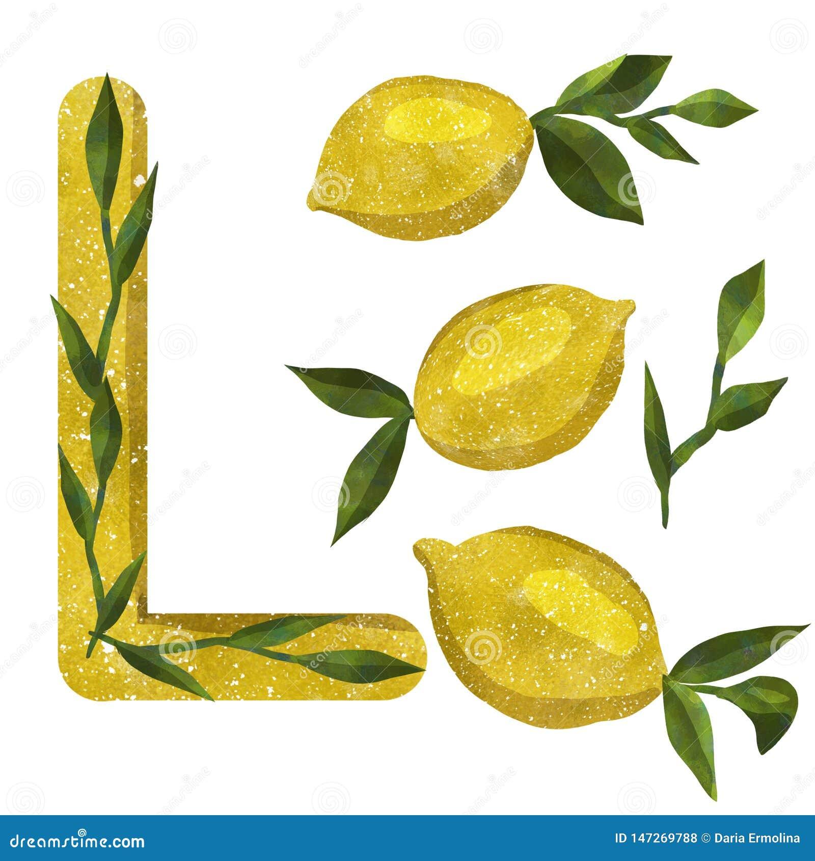 Печать с лимонами акварели