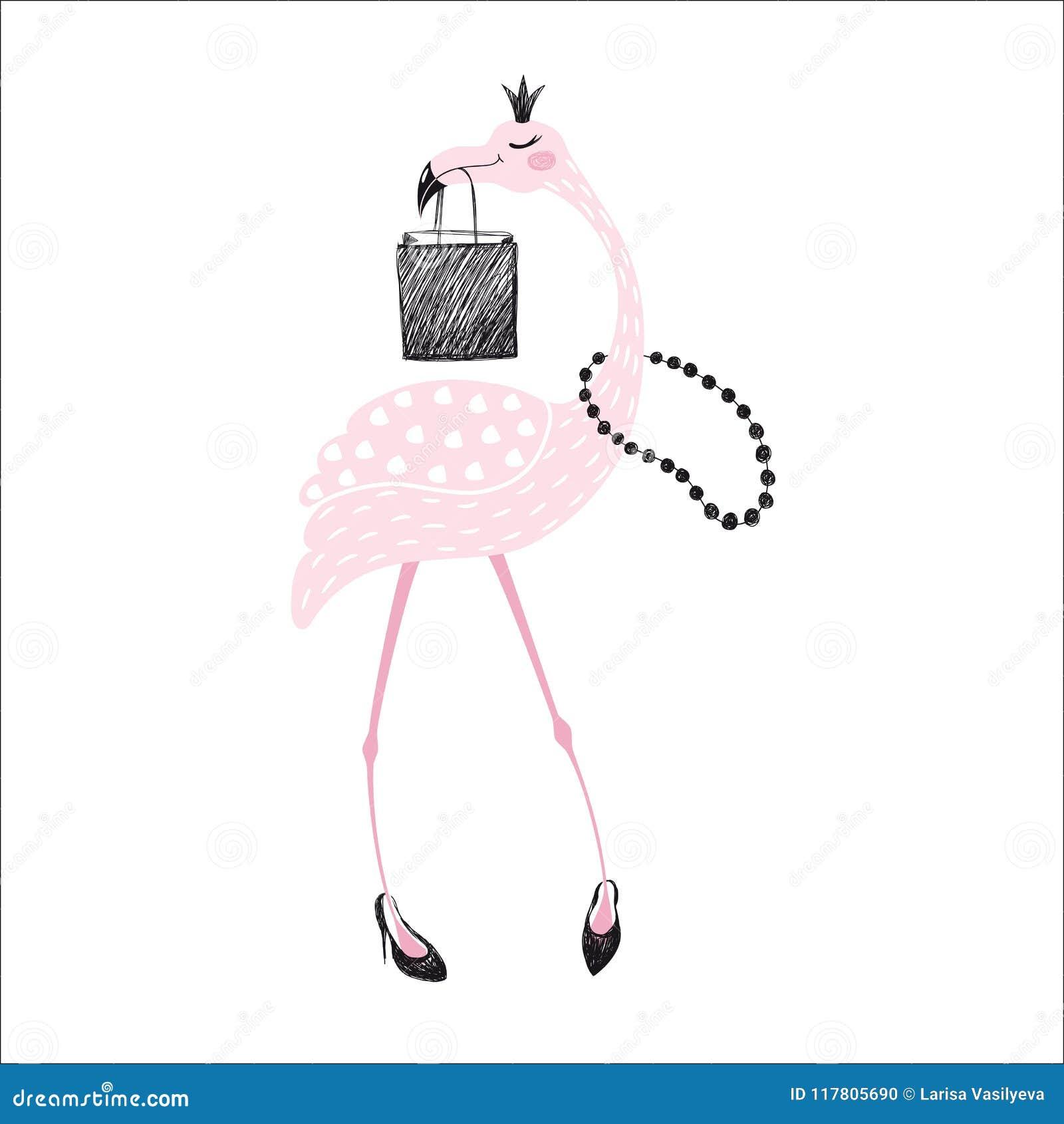 Печать фламинго милая