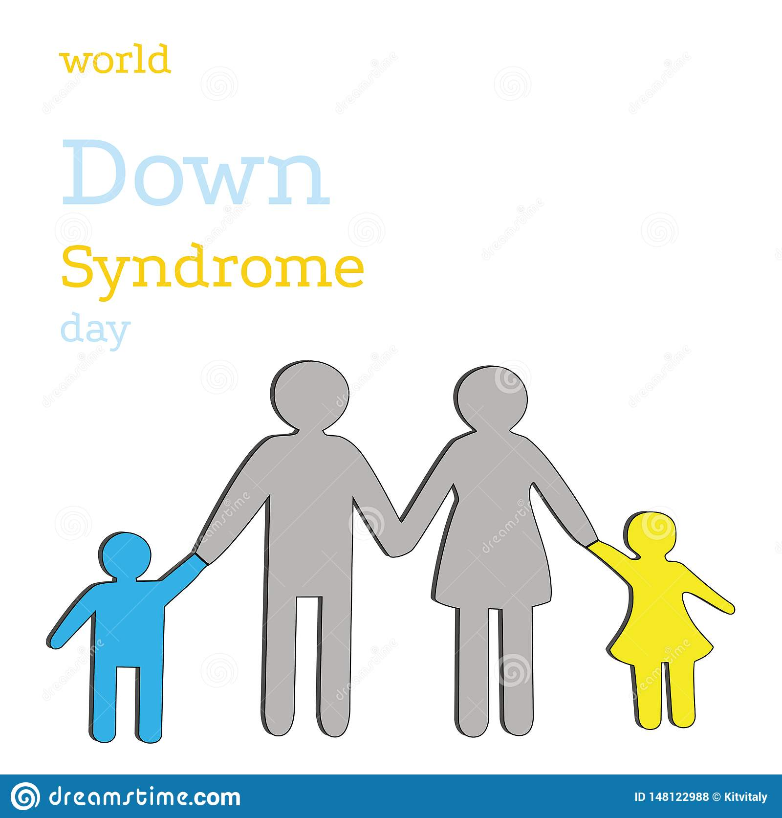 Family with children the color of down syndrome. World Down Syndrome Day. vector illustration.