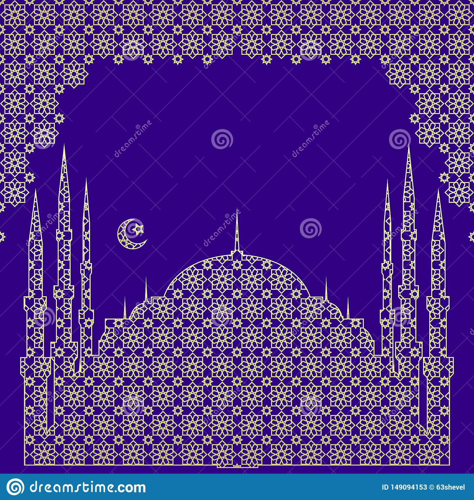 Silhouette of a mosque, a crescent with a star, in an arch from a traditional openwork oriental vector ornament.Free for text.