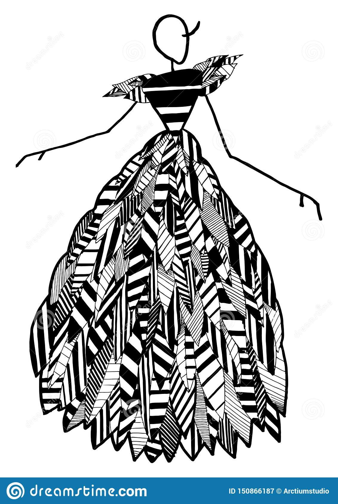 Art Fashion Silhouette Of Costume Posing In Style Abstract Pattern With Geometric Elements Mannequin Costume Shape Isolated Art Stock Illustration Illustration Of Clothing Elegance 150866187