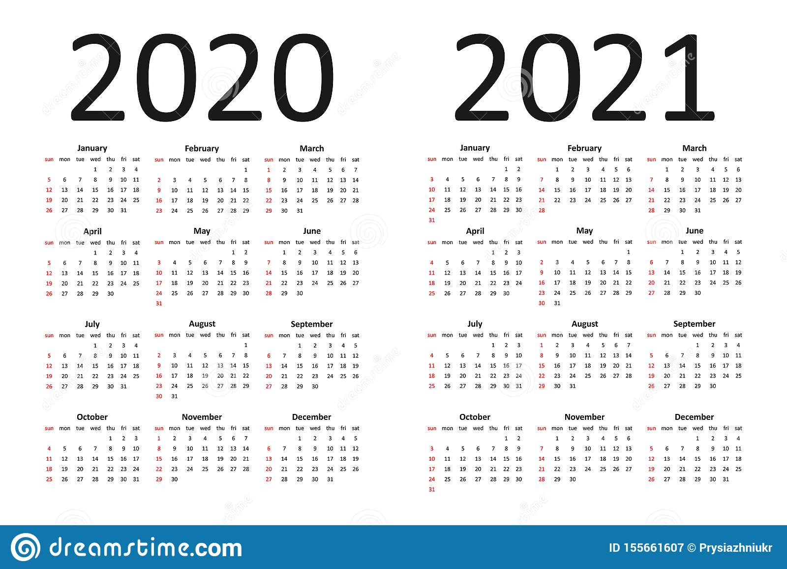 Calendar Of 2020 And 2021 Years. Simple Calendar Template With