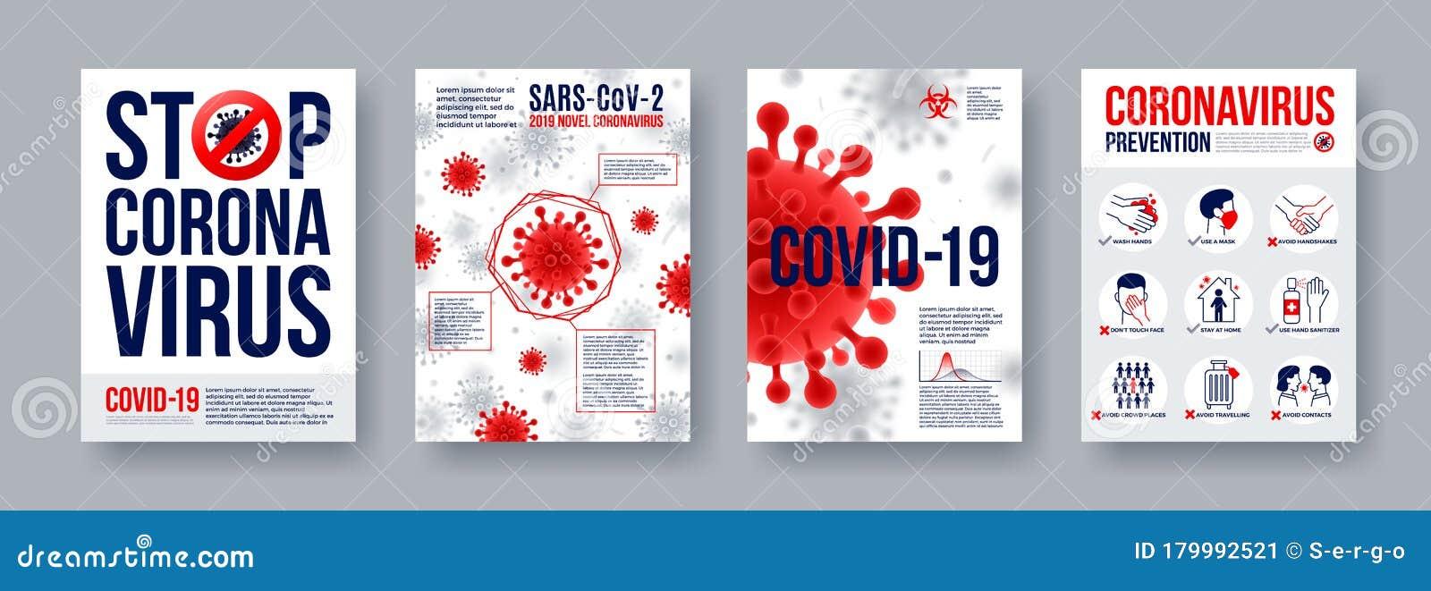 Coronavirus Poster Set With Infographics Elements Novel Coronavirus 2019 Ncov Banners Concept Of Dangerous Covid 19 Pandemic Stock Vector Illustration Of Outbreak Concept 179992521