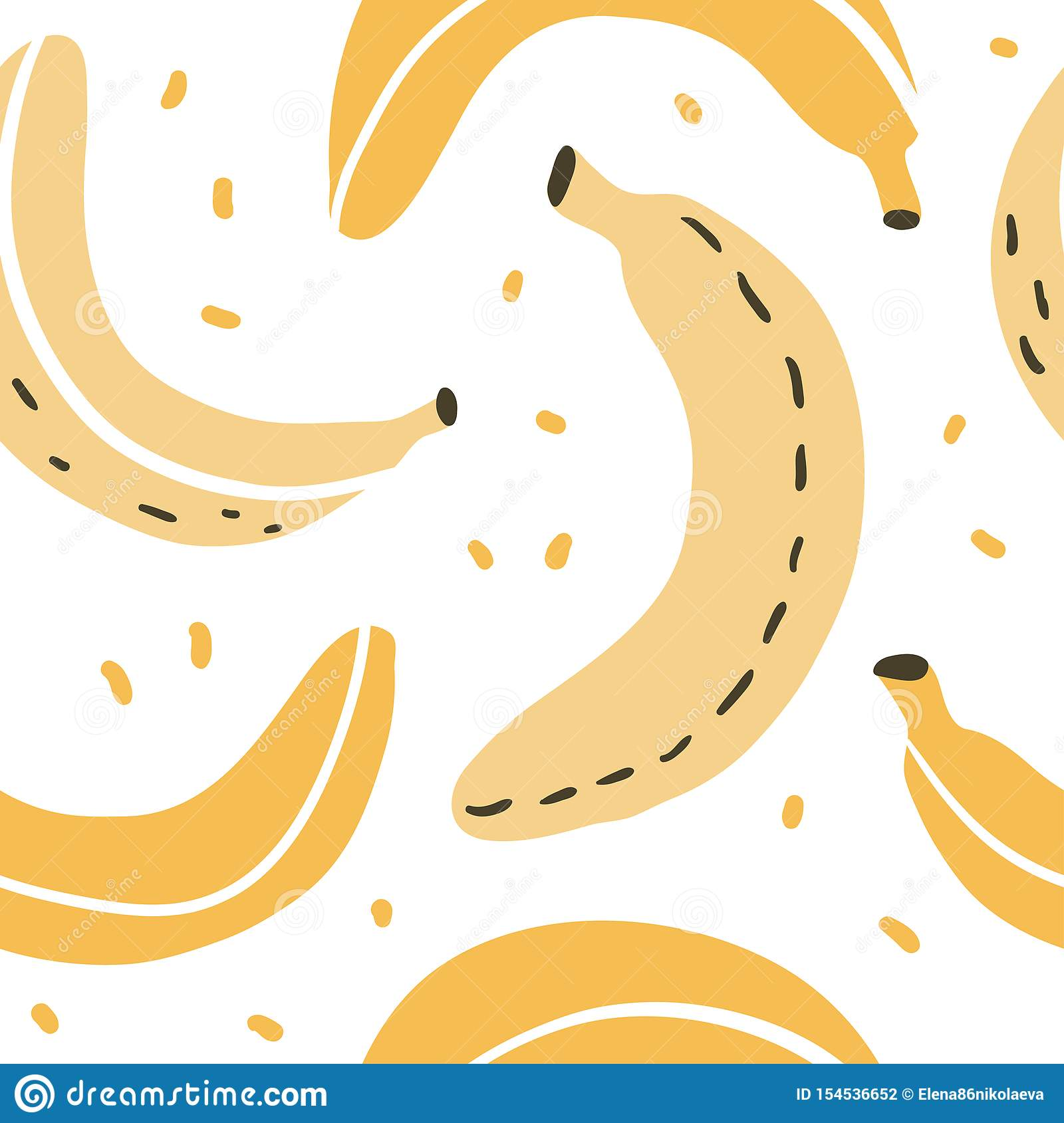 Doodle Banana Vector Seamless Pattern Stock Vector
