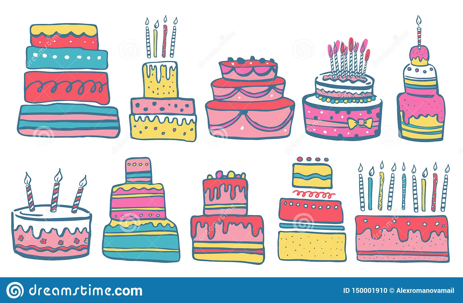 Excellent Set Of Stylized Birthday Cakes With Candles And Decorations Hand Personalised Birthday Cards Cominlily Jamesorg