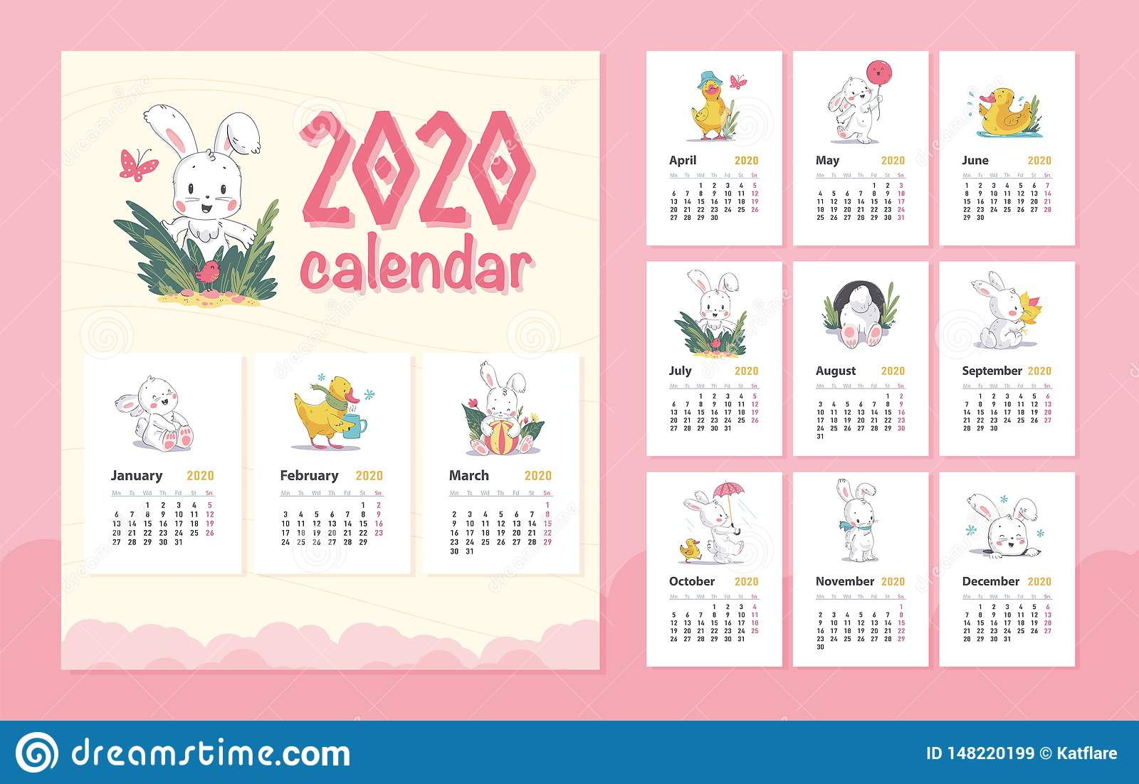 Vector 2020 baby calendar design template with cute white bunny animal character & little yellow duck walk, stand, sit.