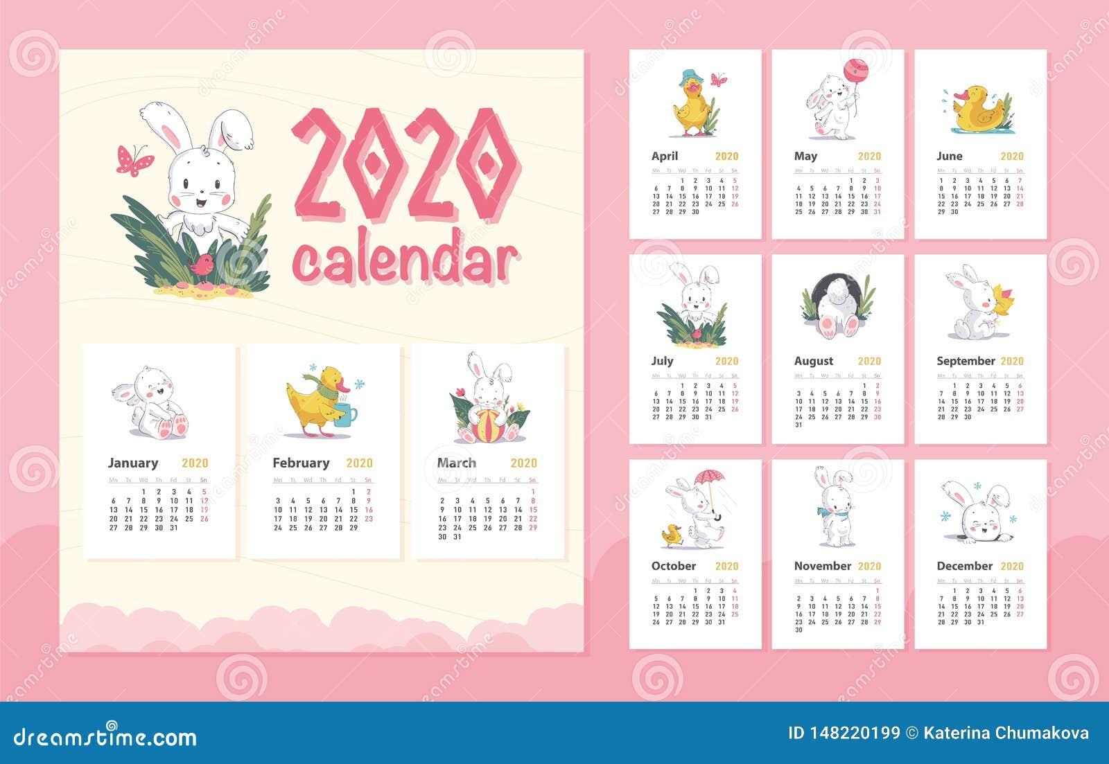 Vector 2020 Baby Calendar Design Template With Cute White Bunny